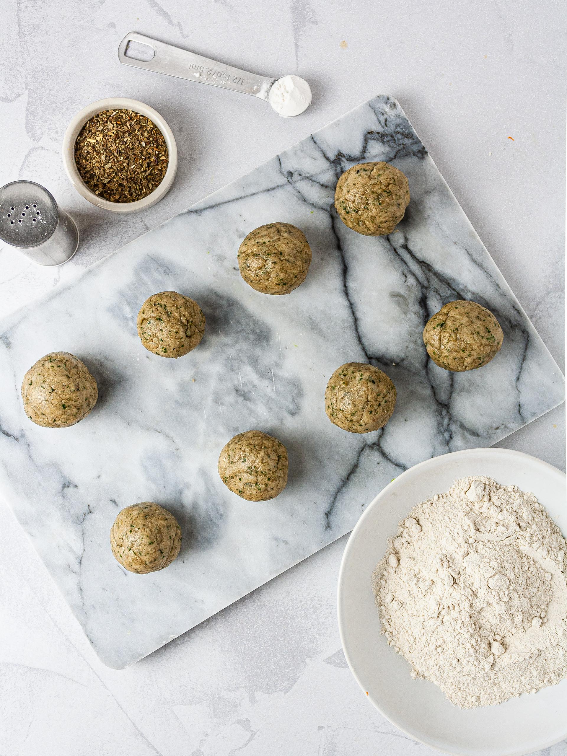 Gluten-free dumplings made with buckwheat flour, salt, oil, and herbs.