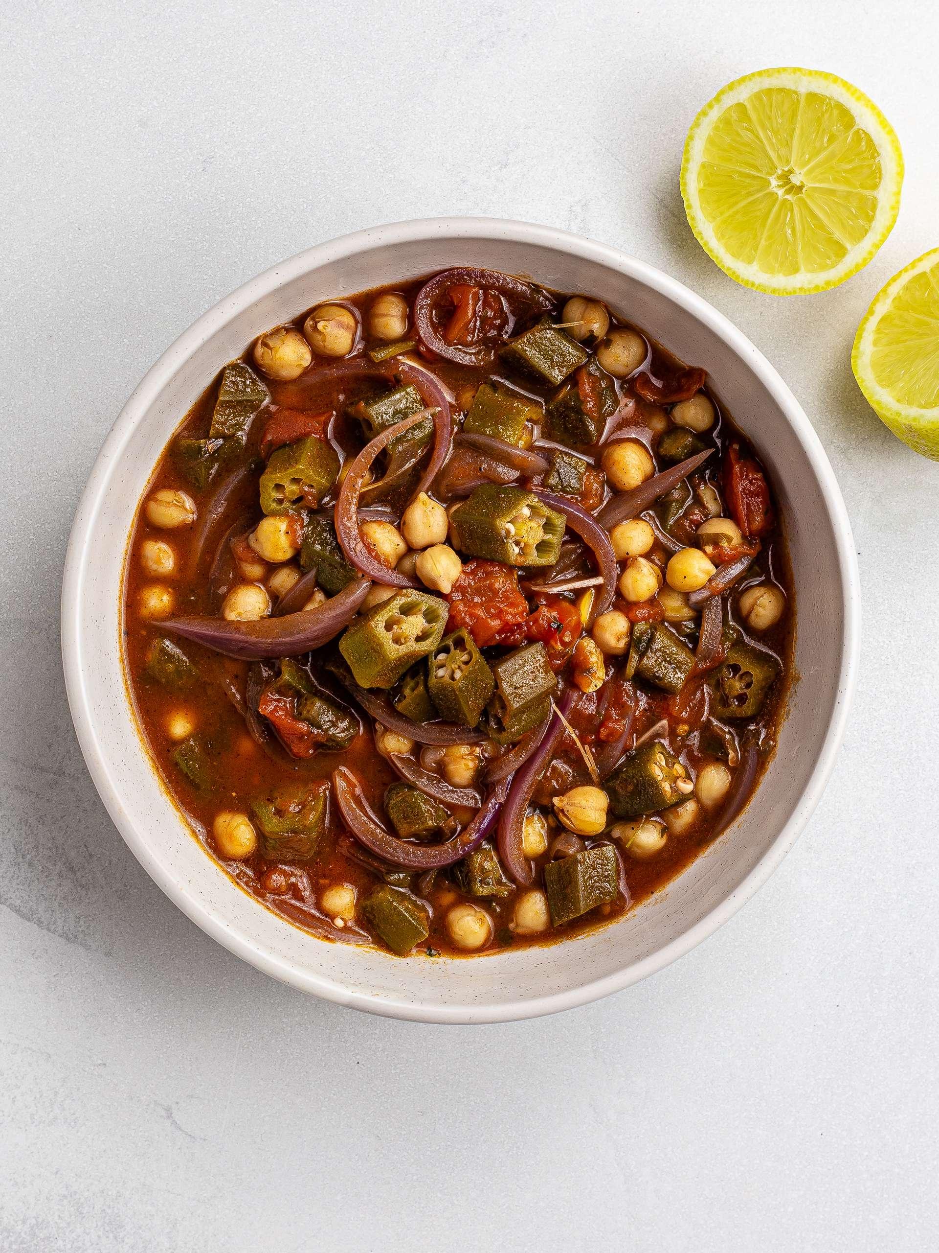 vegan bamya okra stew in a bowl