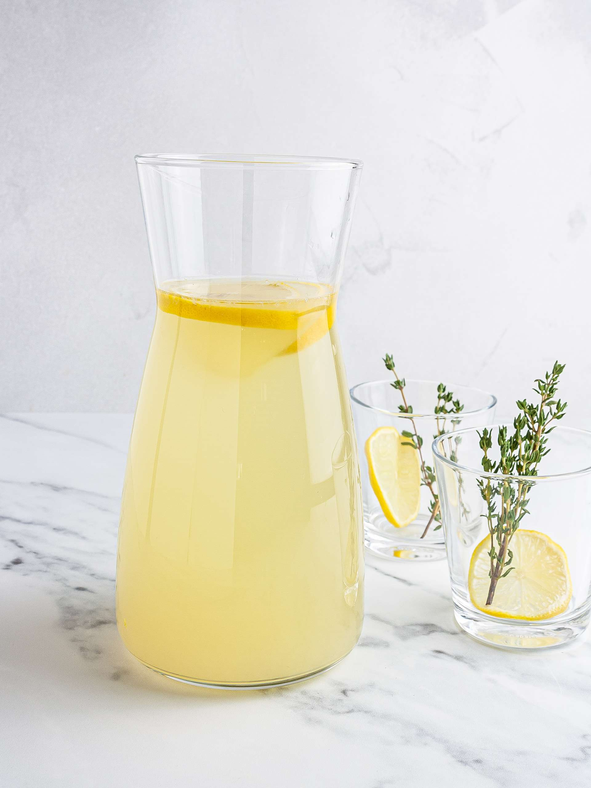 Ginger thyme lemonade in a jug