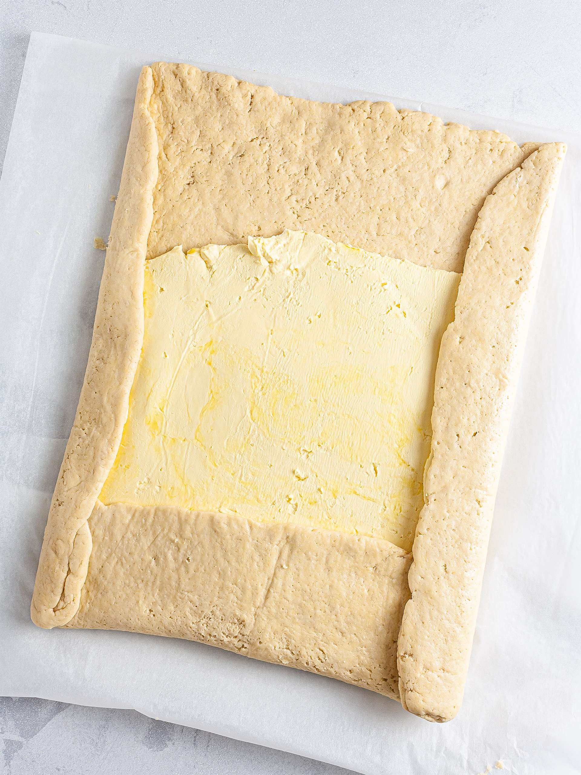 Dough folded with vegan butter