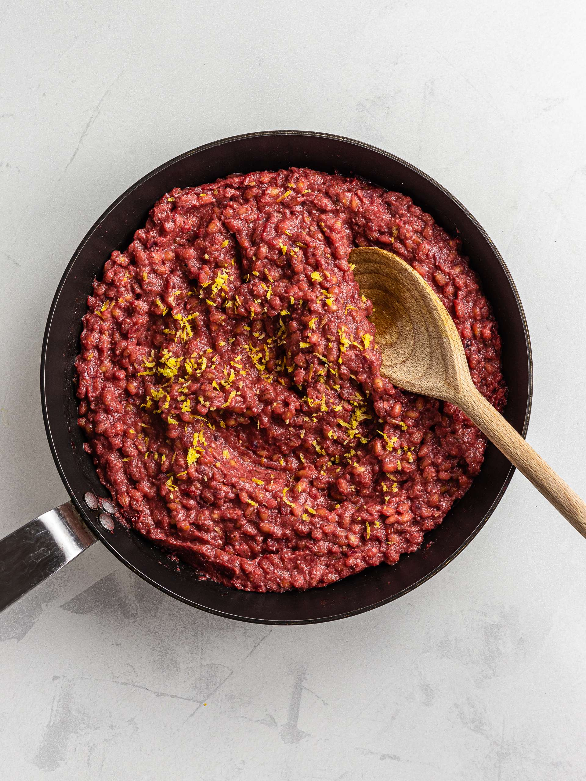 red beet risotto with barley
