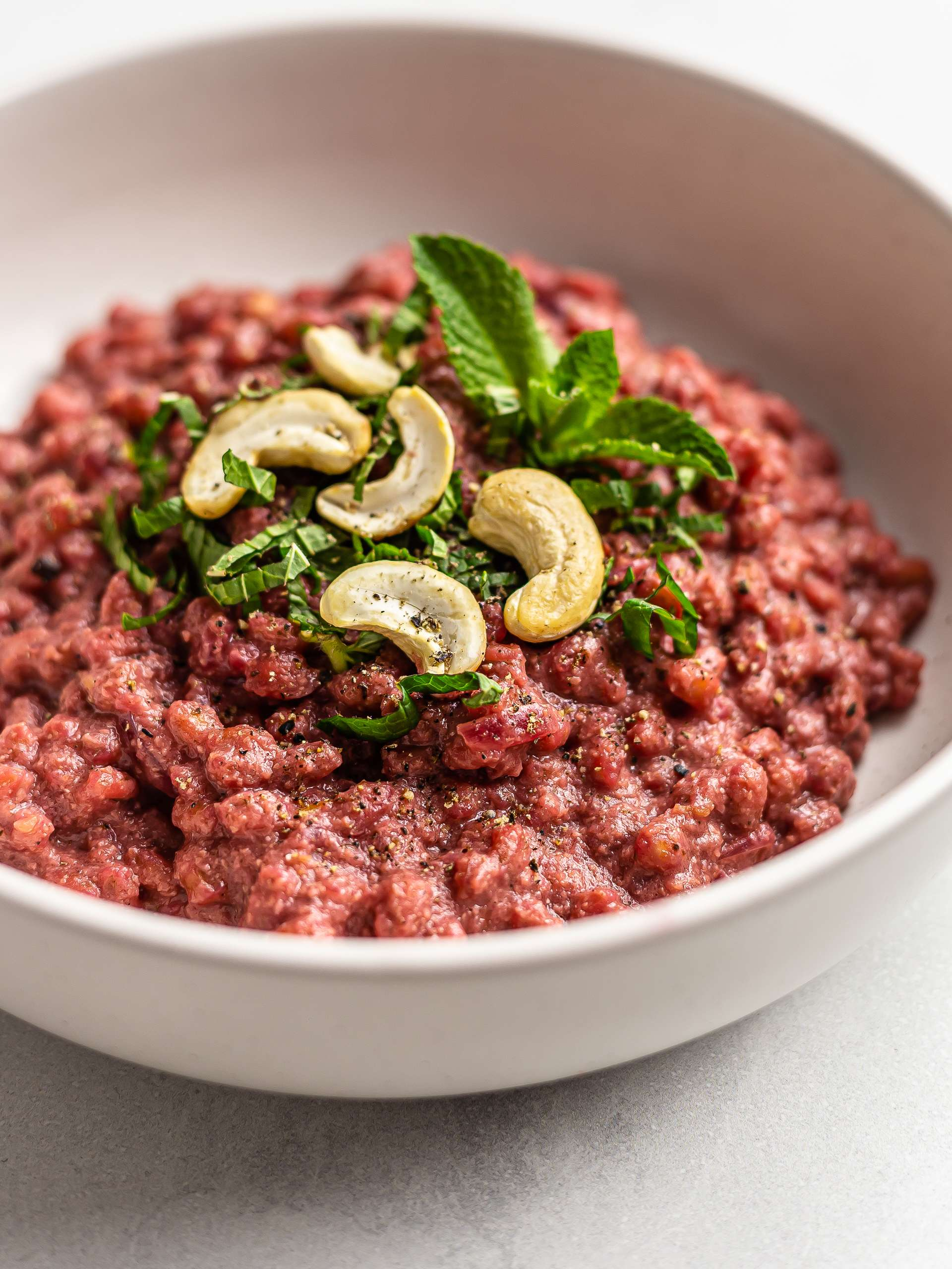 Vegan Beet Barley Risotto with Cashews Thumbnail