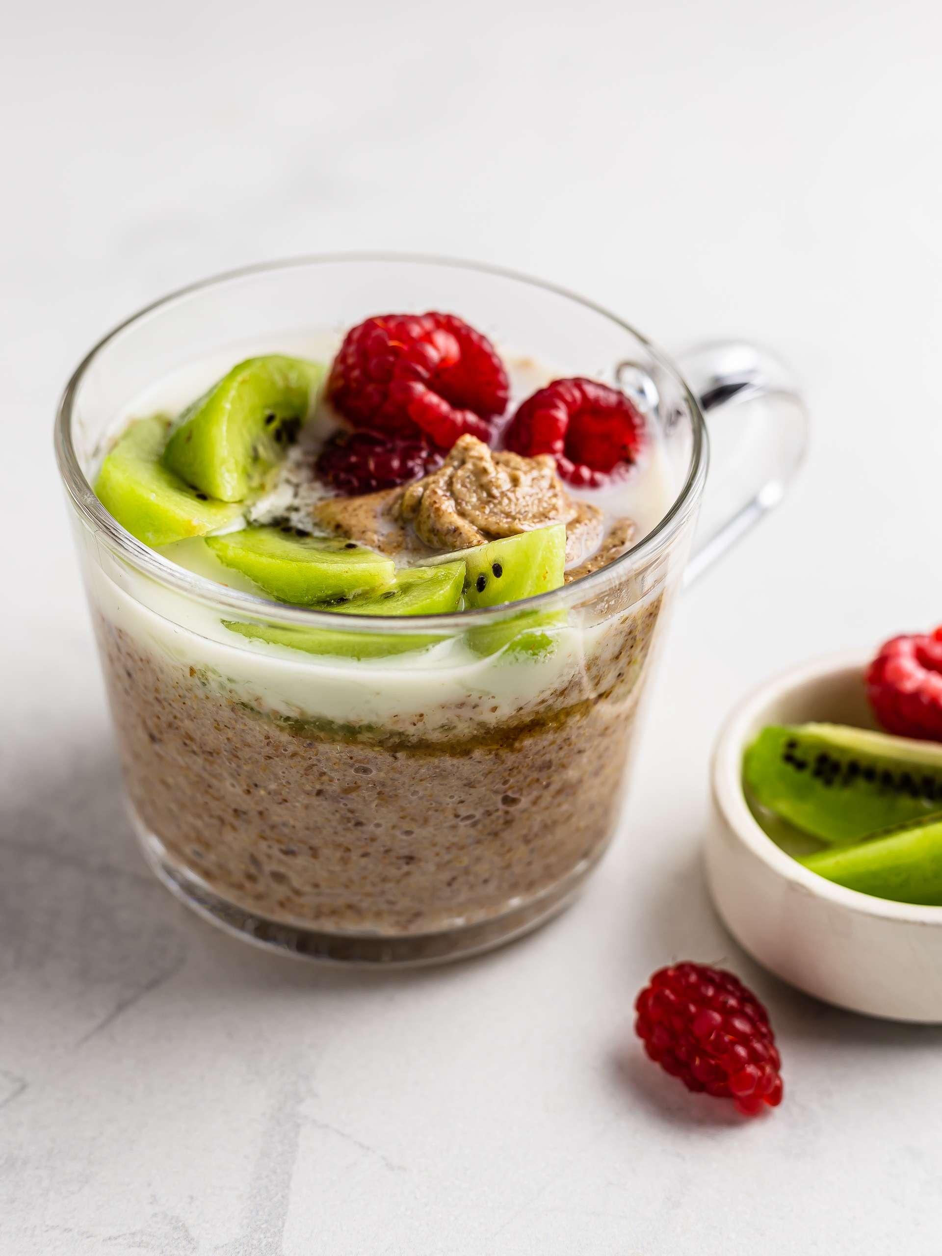 buckwheat porridge topped with raspberries and kiwi