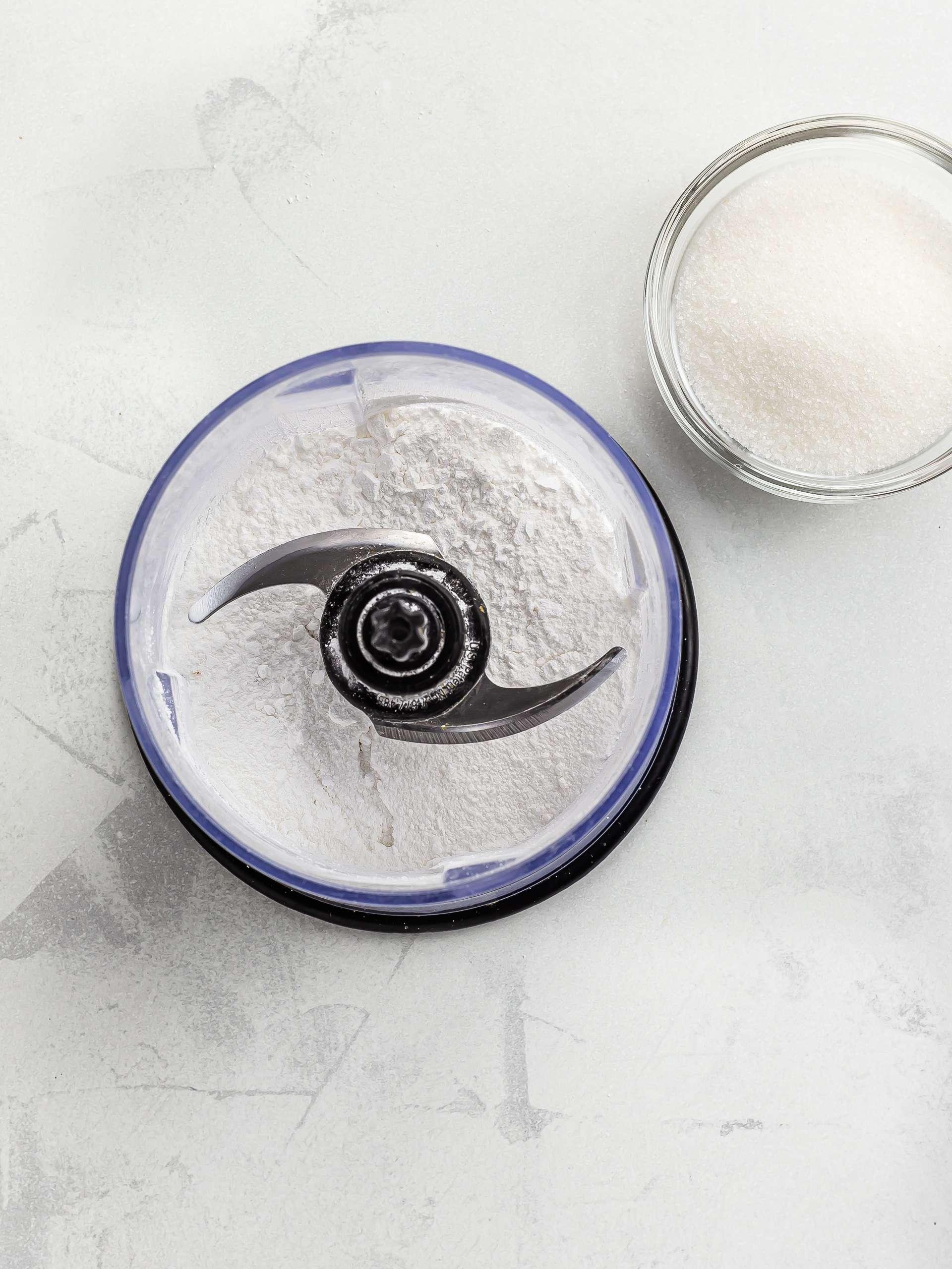 powdered erythritol in a blender