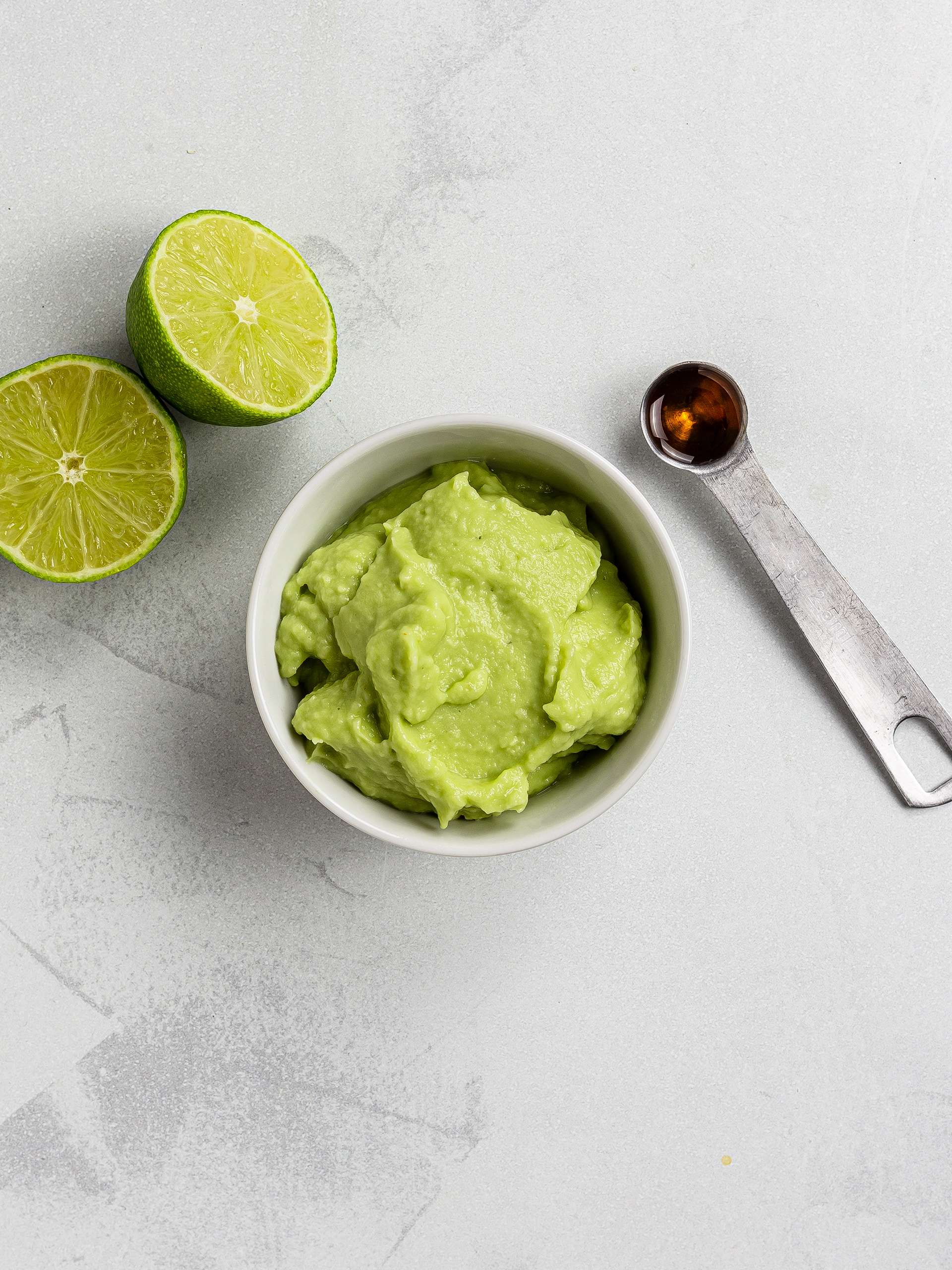 avocado mash lime and maple syrup