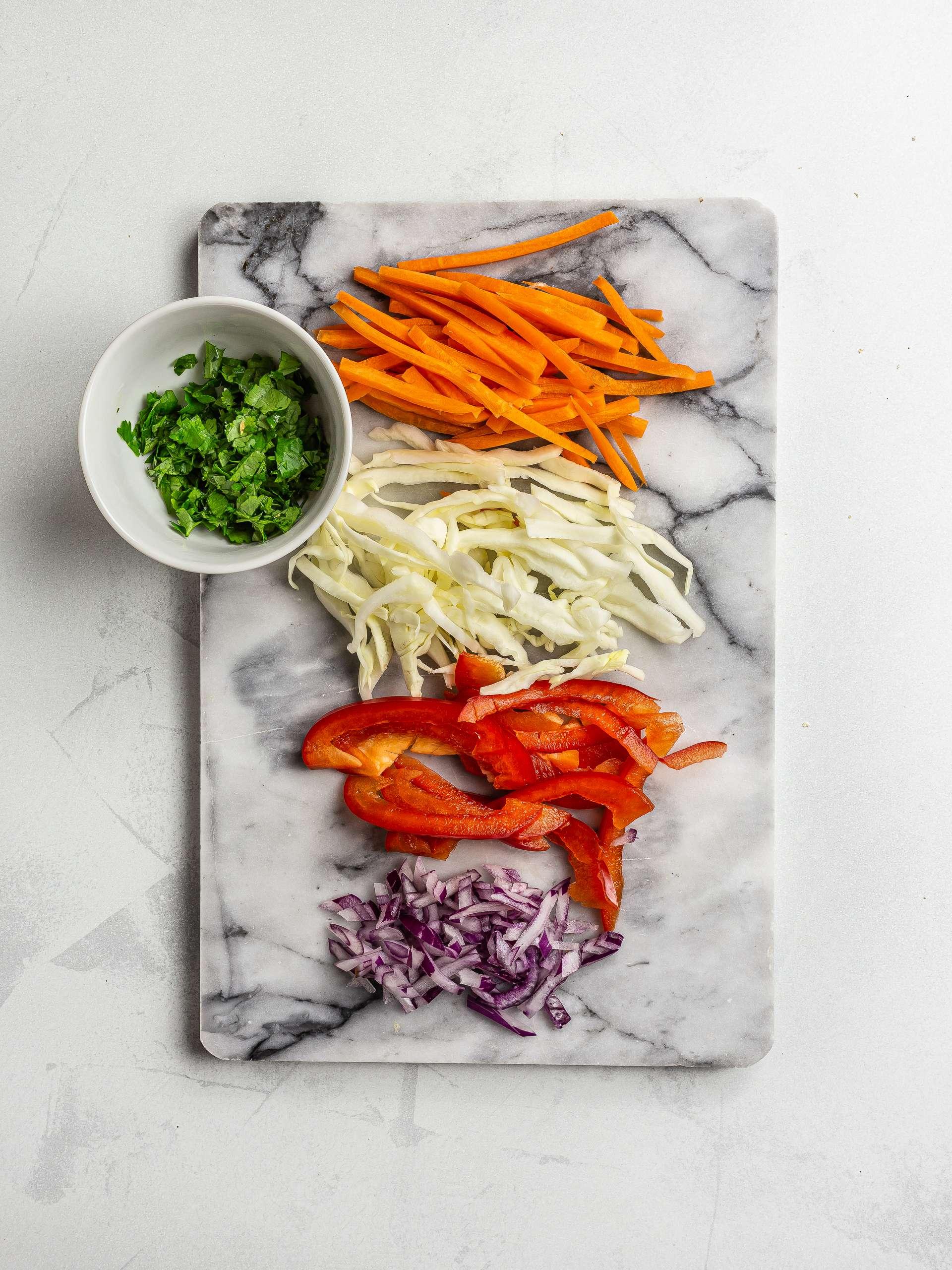 sliced vegetables for coleslaw