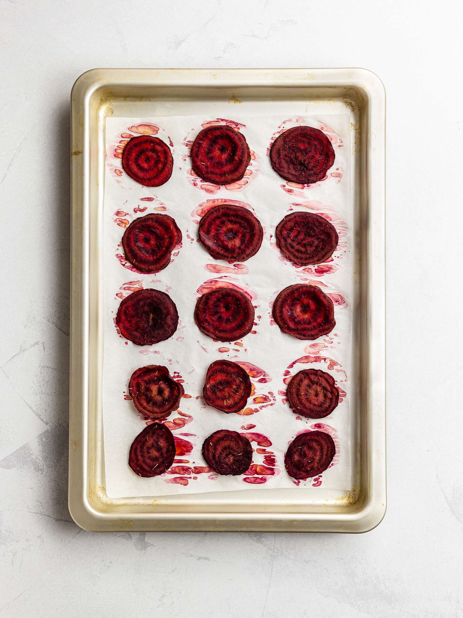 baked beet chips on a tray