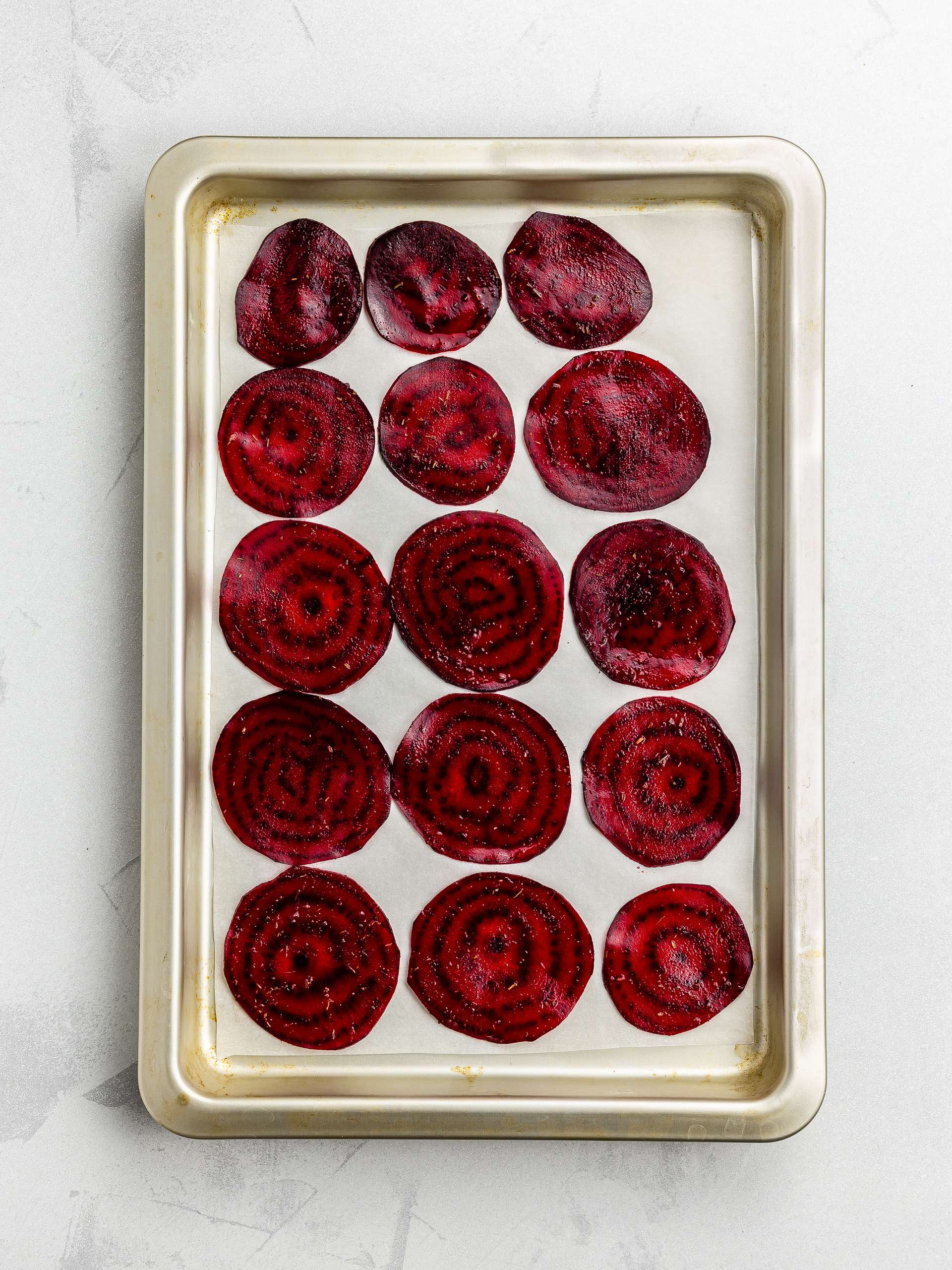 beetroot chips on a baking tray