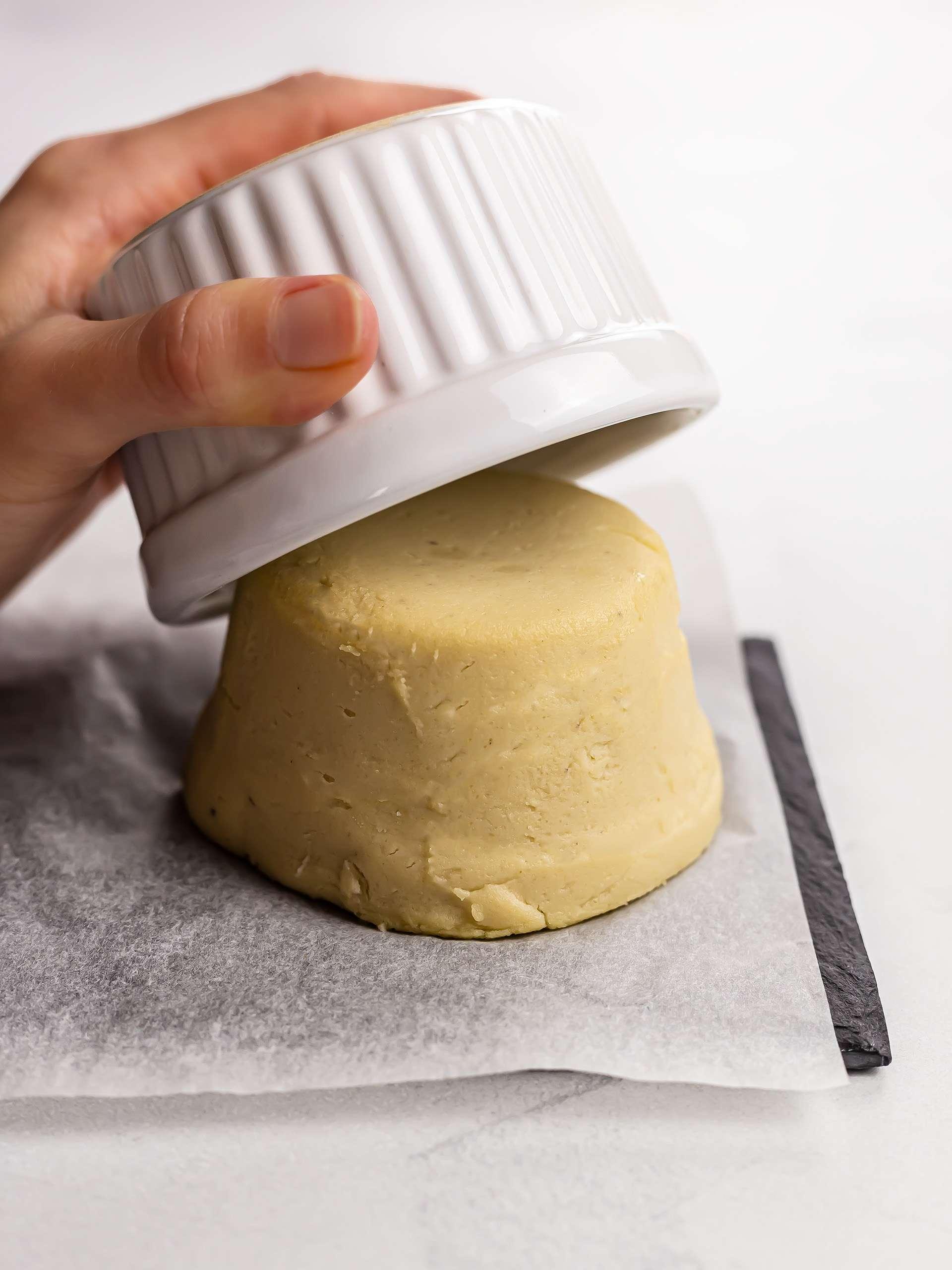 shaped vegan cotija cheese