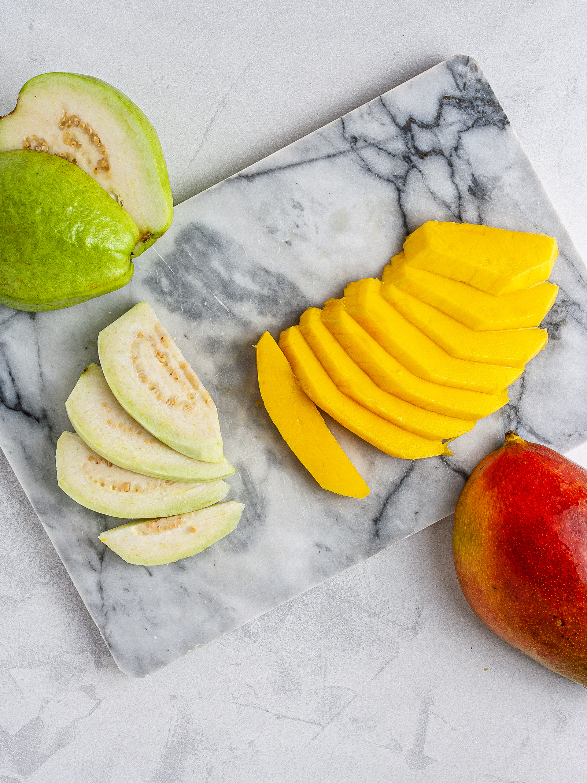 Sliced mango and guava