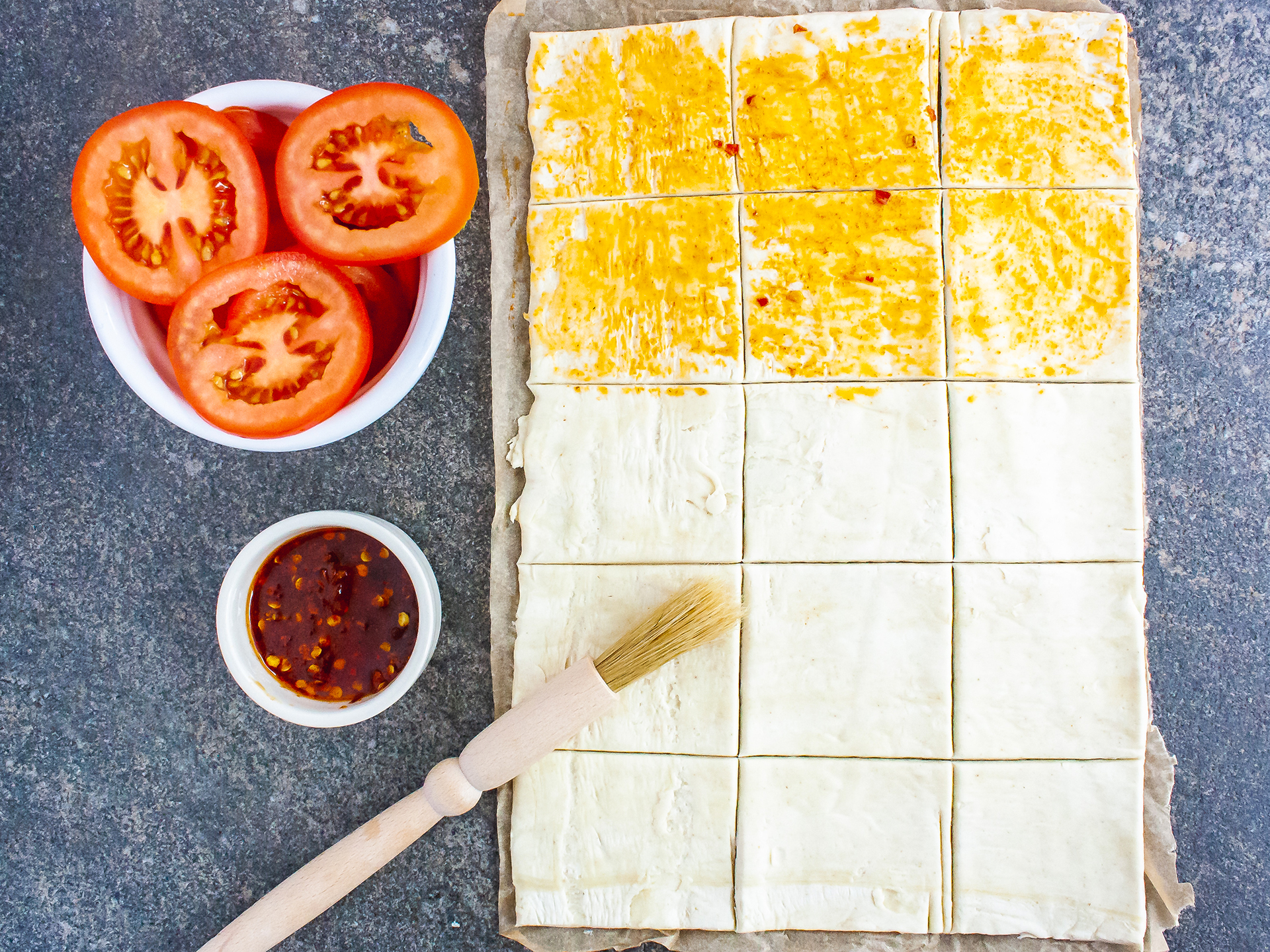 Step 1.1 of Vegan Pastry Party Snacks with Tomatoes Recipe