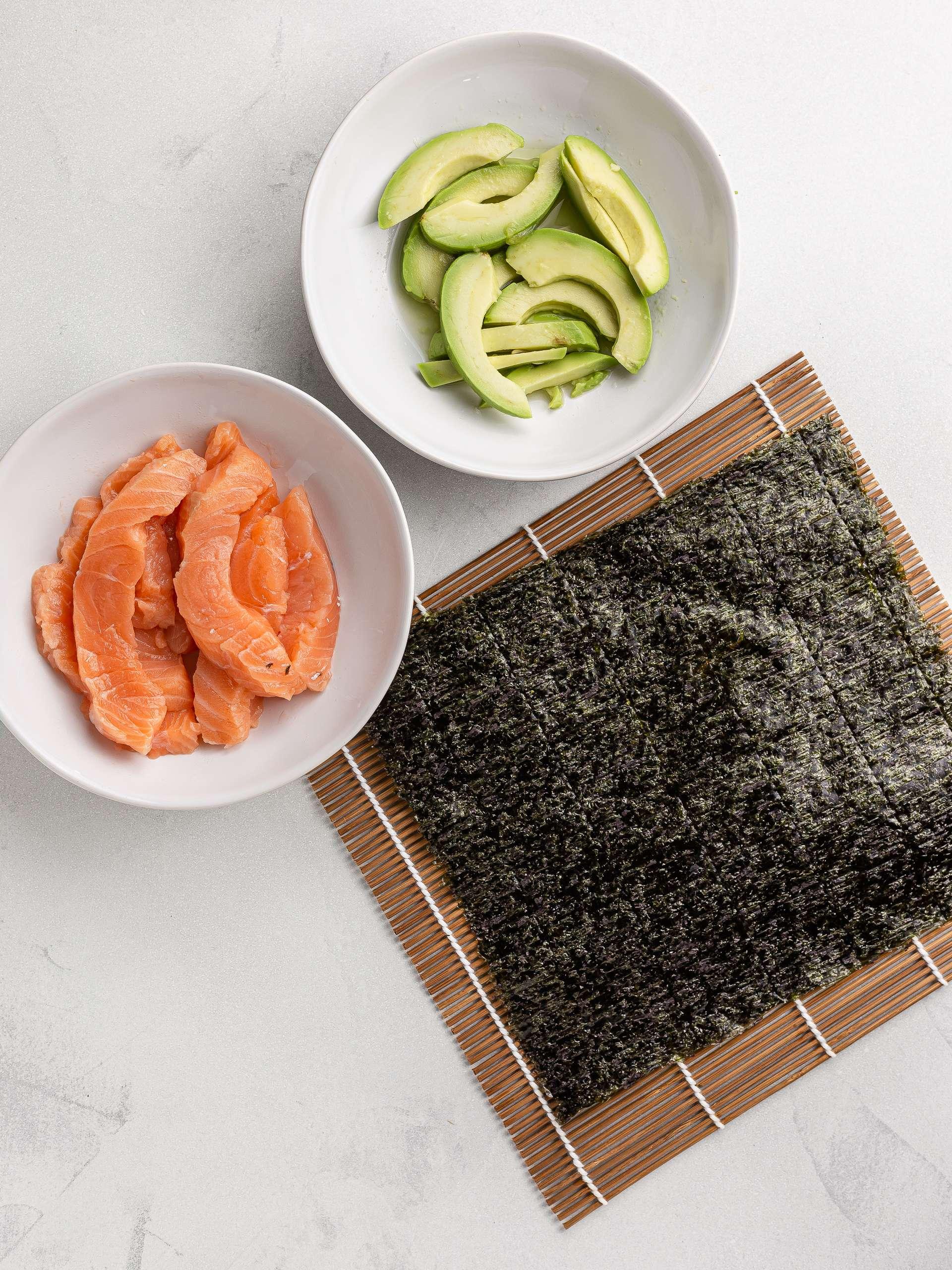 salmon, avocado and nori sheet for sushi