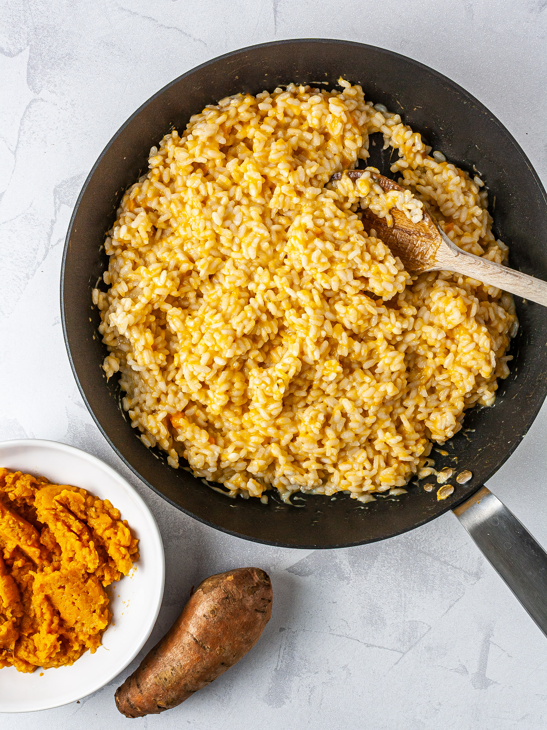 Mashed sweet potato added to the risotto rice.