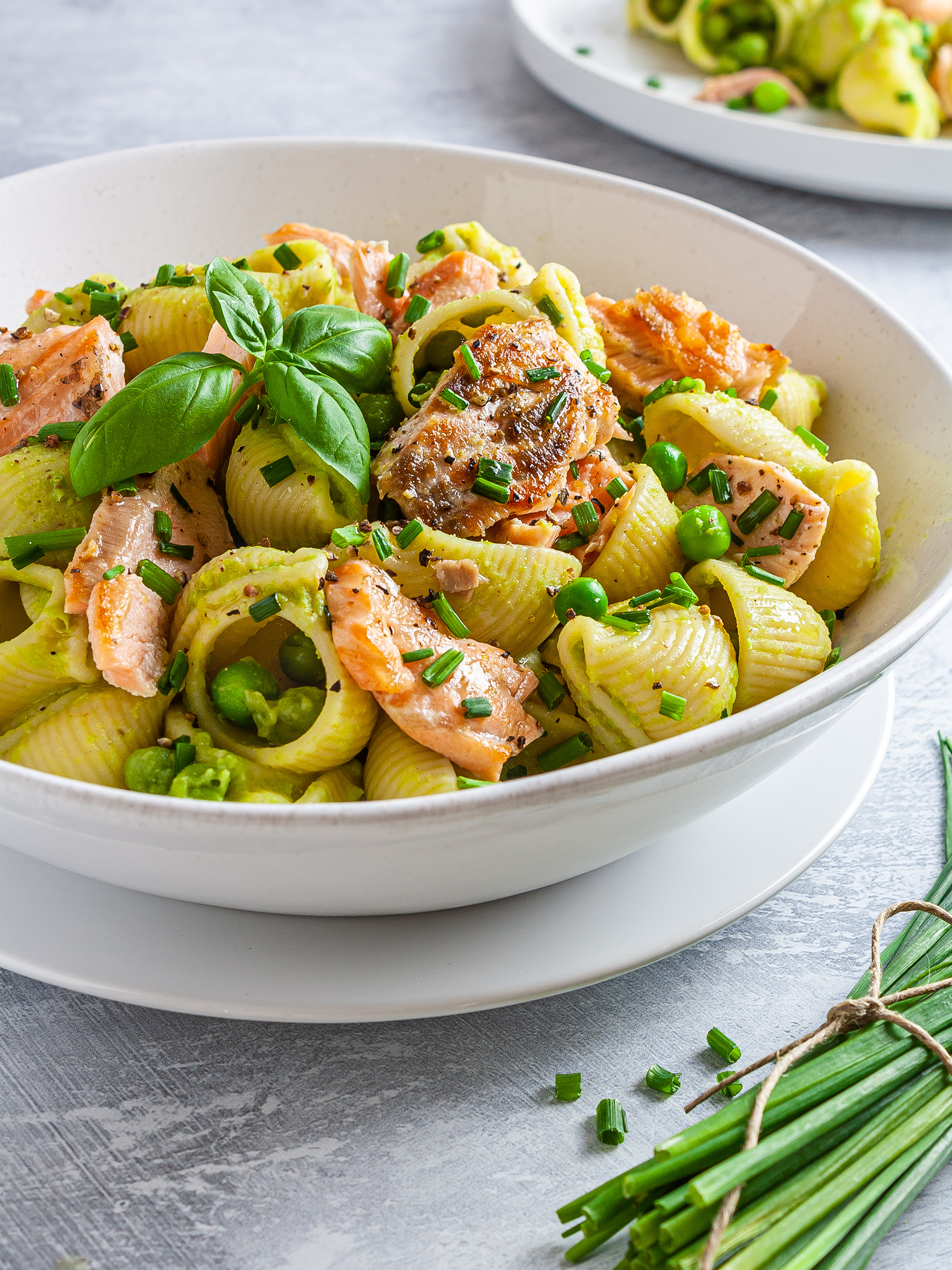 Dairy-Free Salmon Pasta with Peas Thumbnail