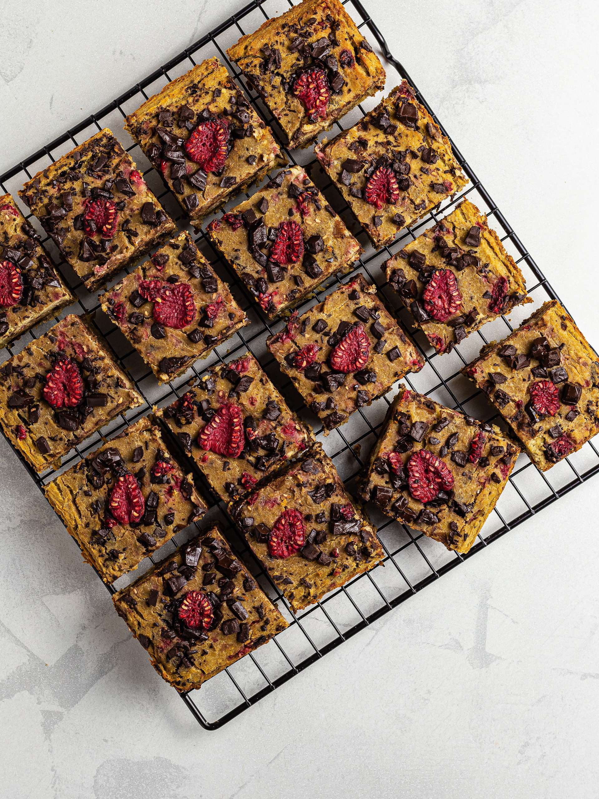 baked chickpea blondies cut into squares