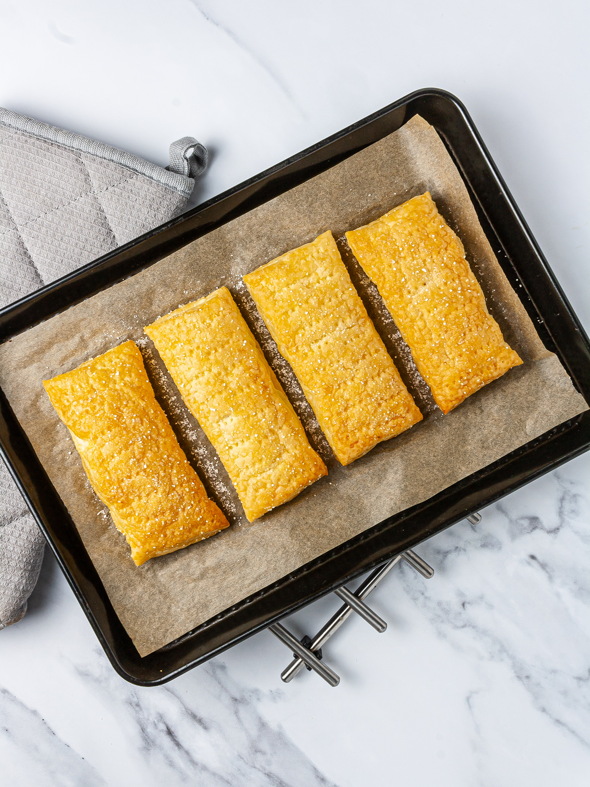 Baked puff pastry in baking tray