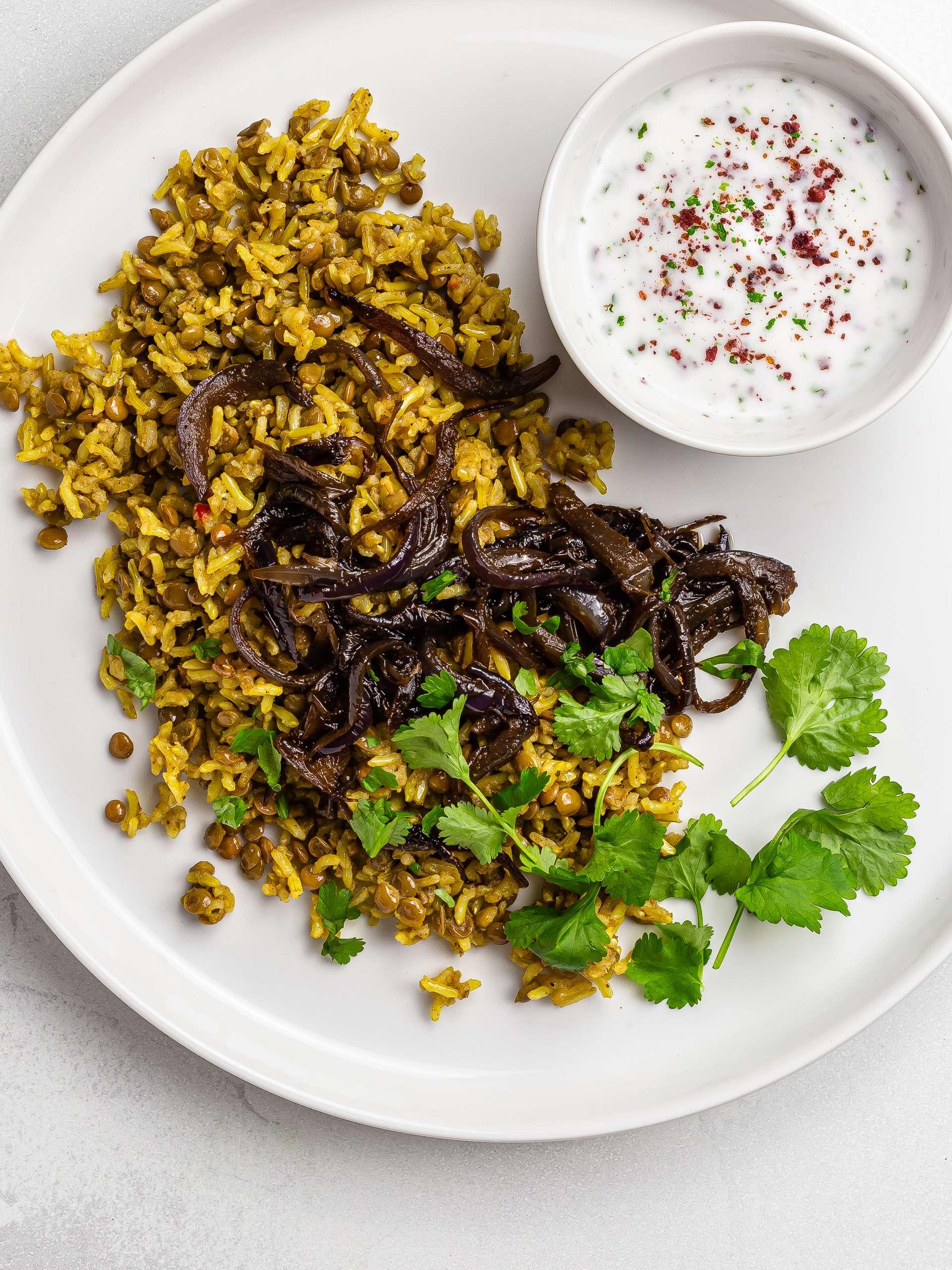 Lebanese Mujadara (Caramelized Onions and Lentil Rice)