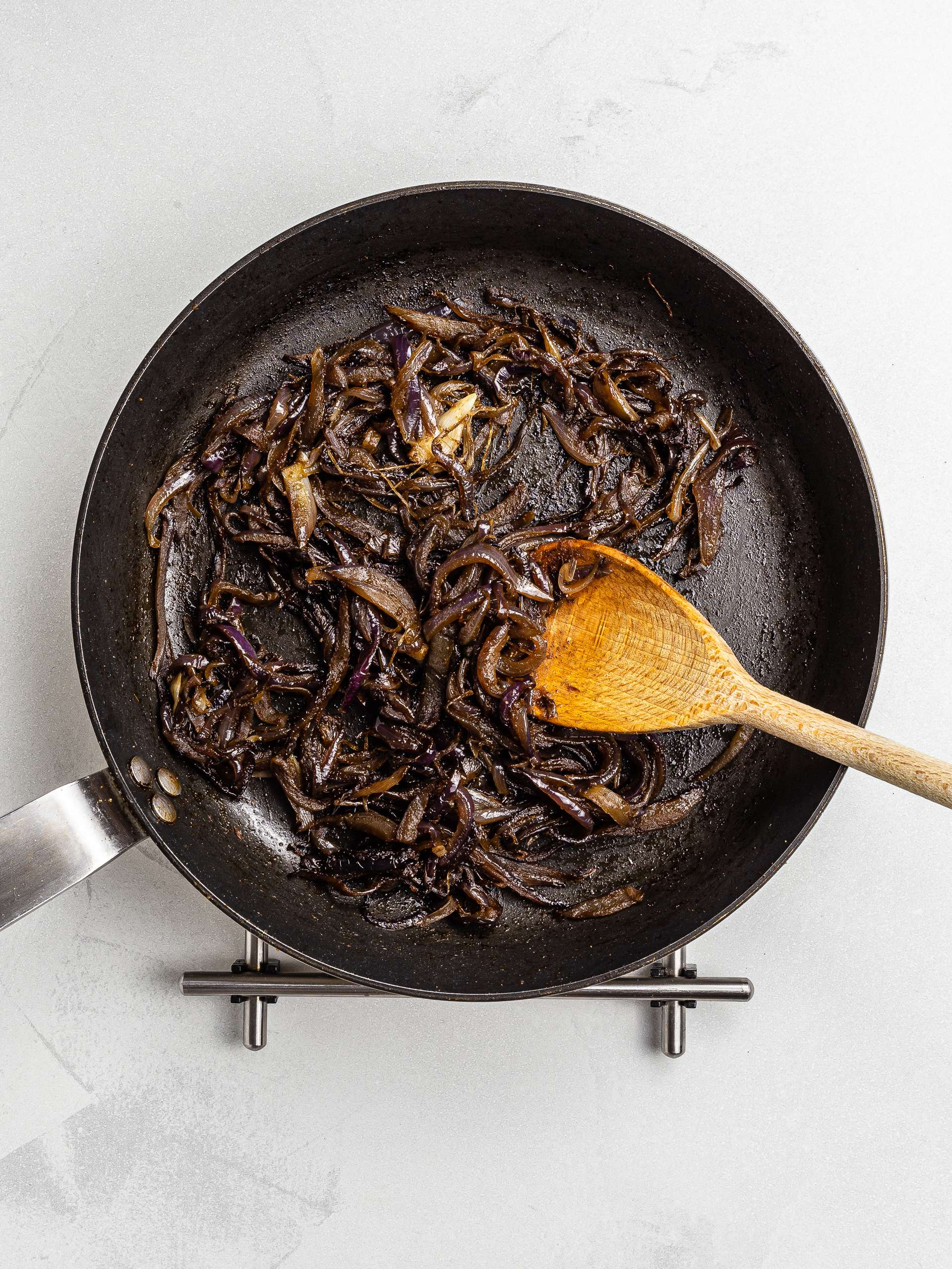 caramelised onions in a skillet