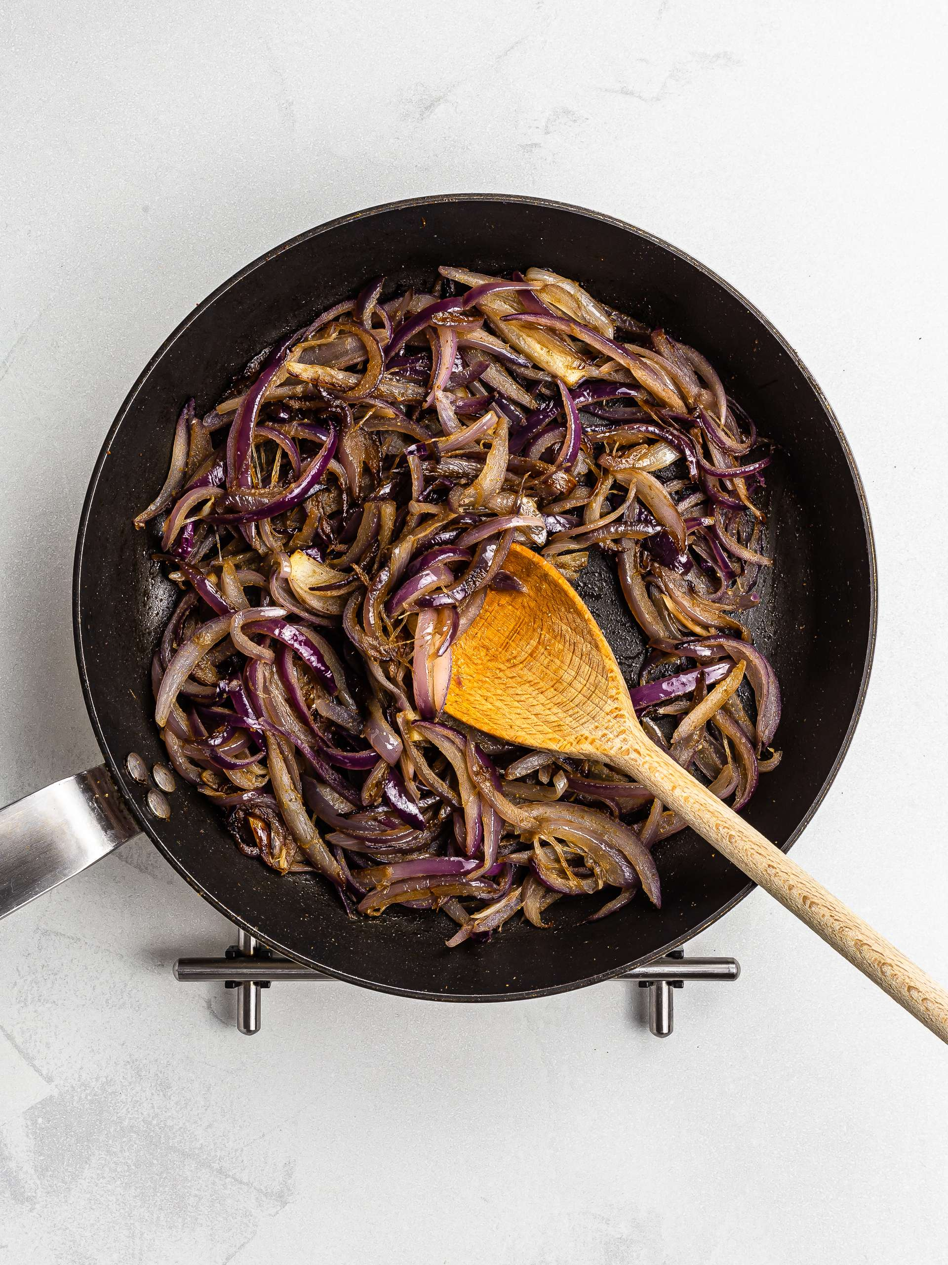 cooked onions in a skillet