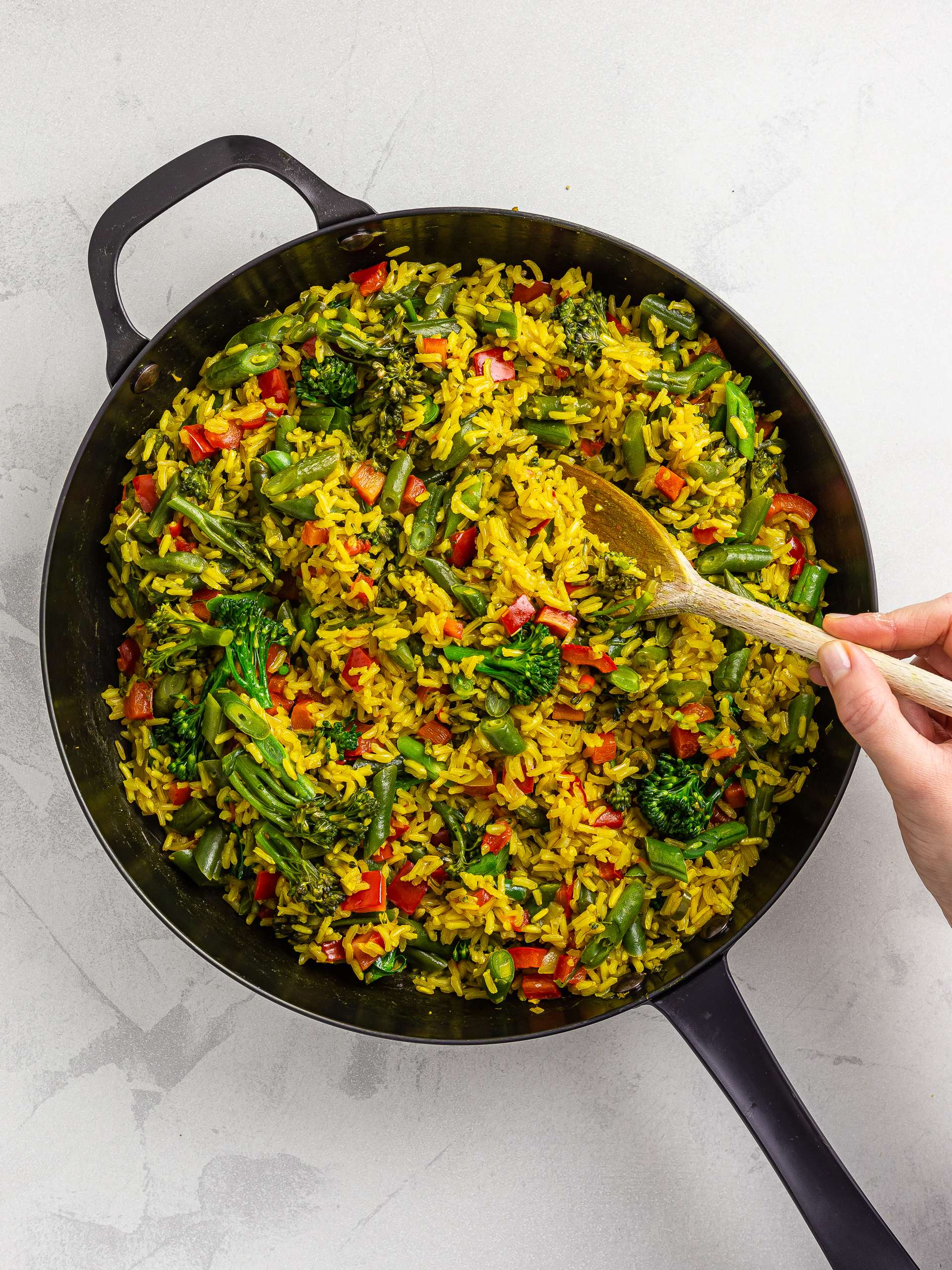 thai pilaf rice with green beans, broccoli, and red peppers