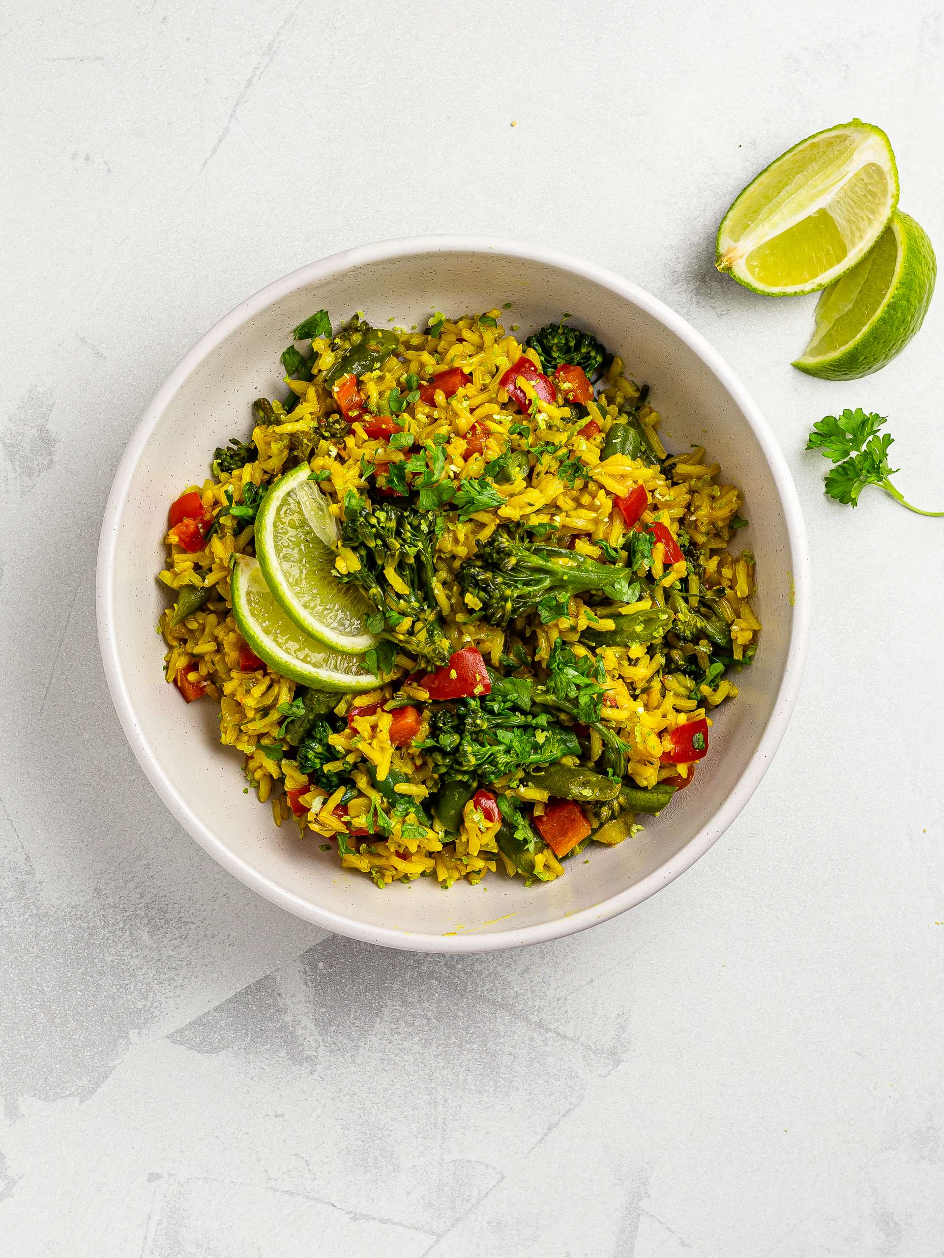 thai green bean pilaf with lime and coriander