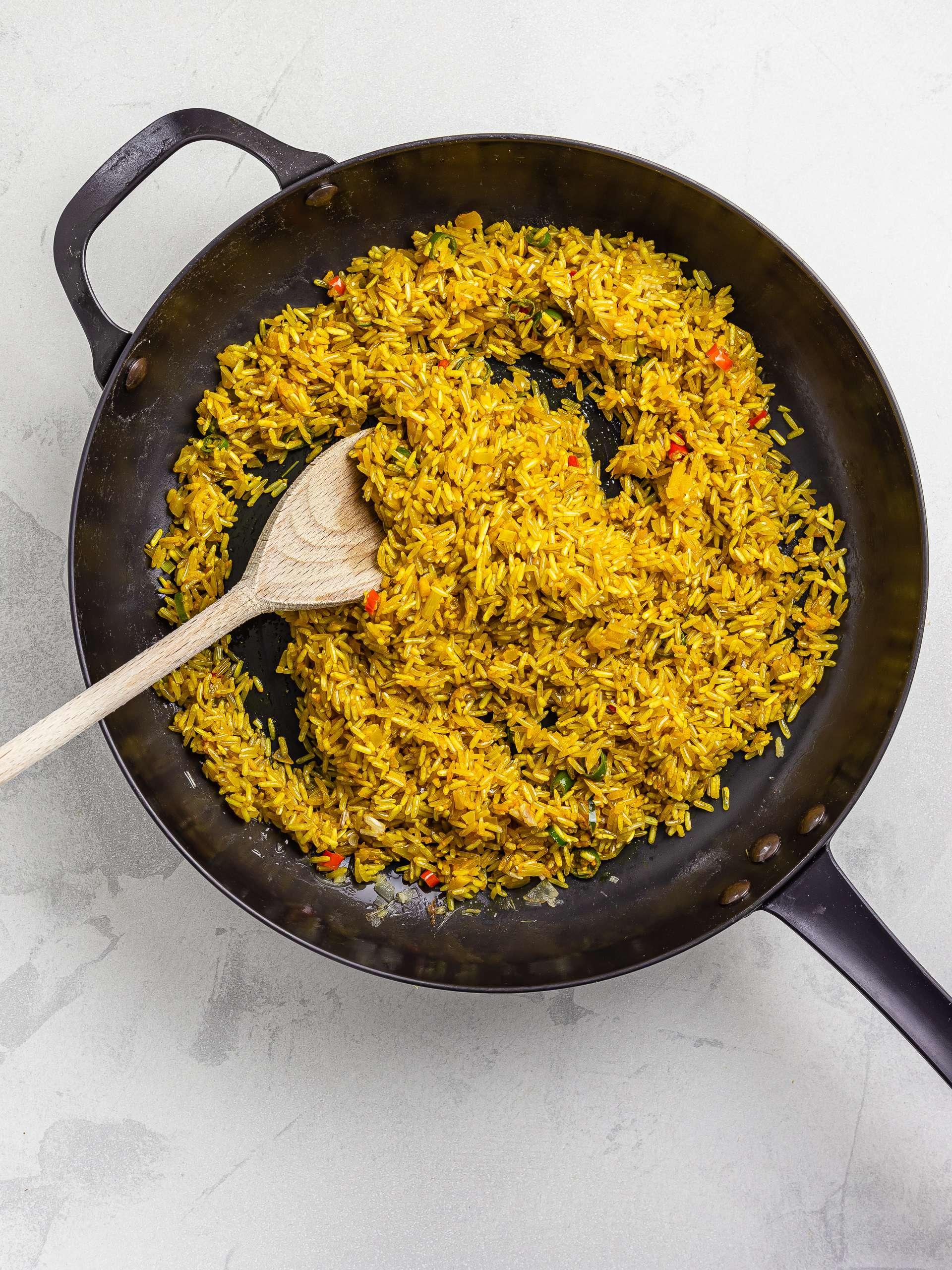 brown rice sautéed with turmeric