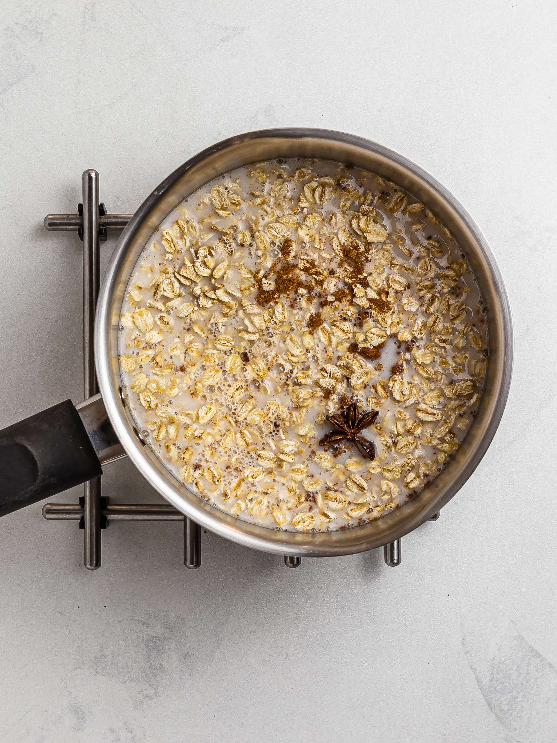 oats with coconut milk star anise and cinnamon