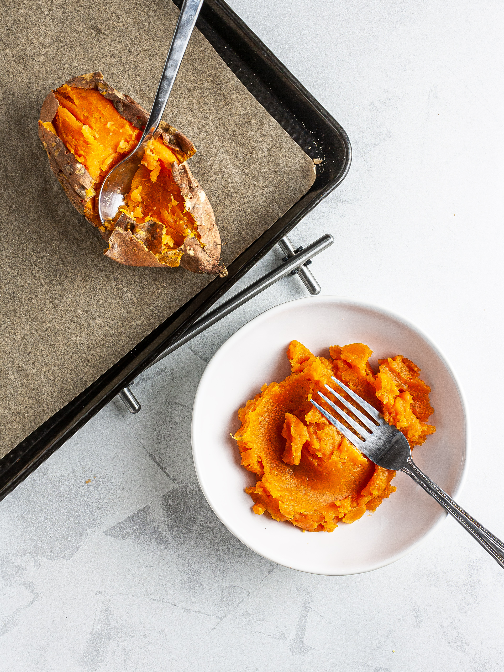 Baked and mashed sweet potatoes