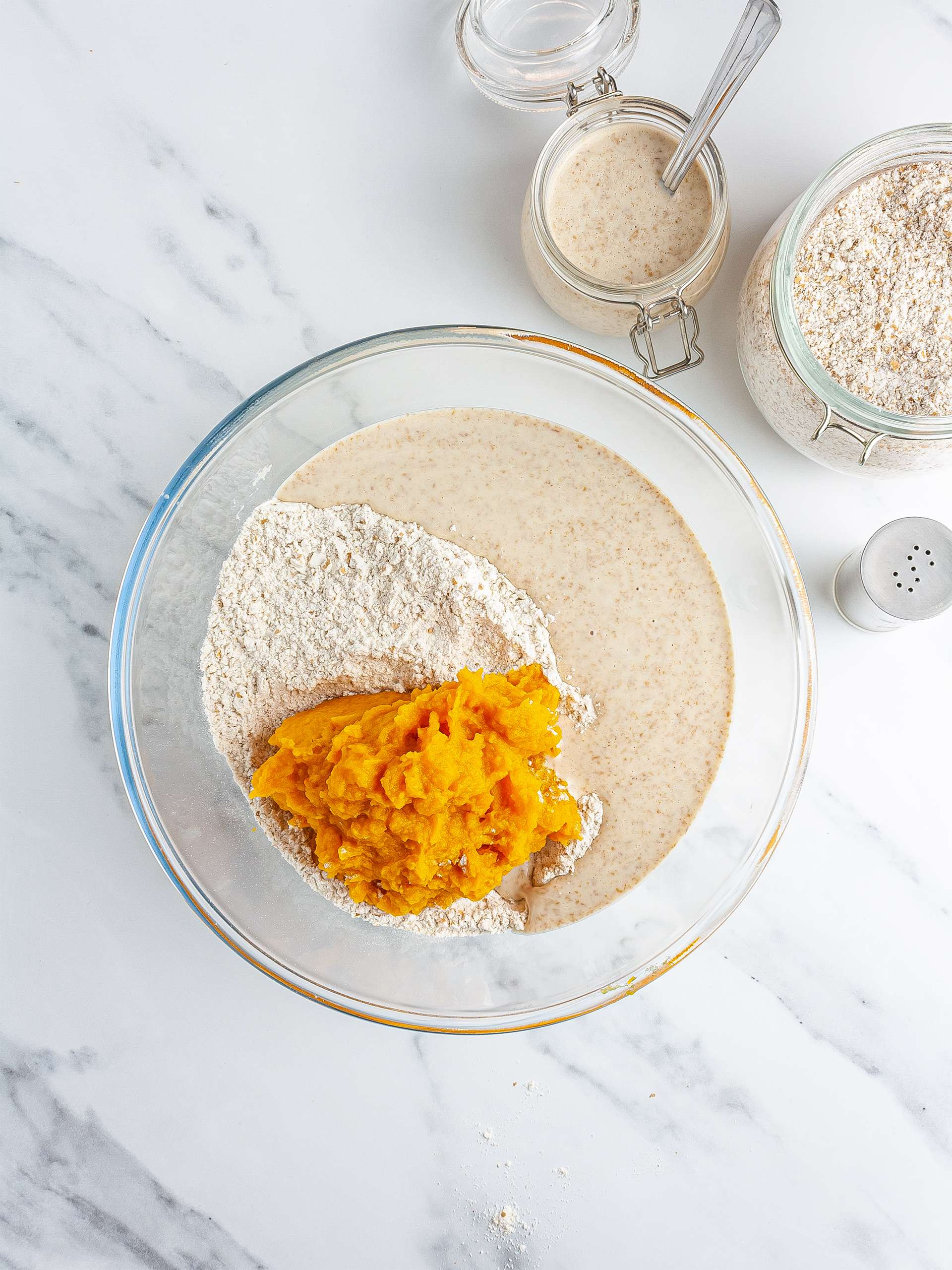 sourdough pumpkin dough mix in a bowl