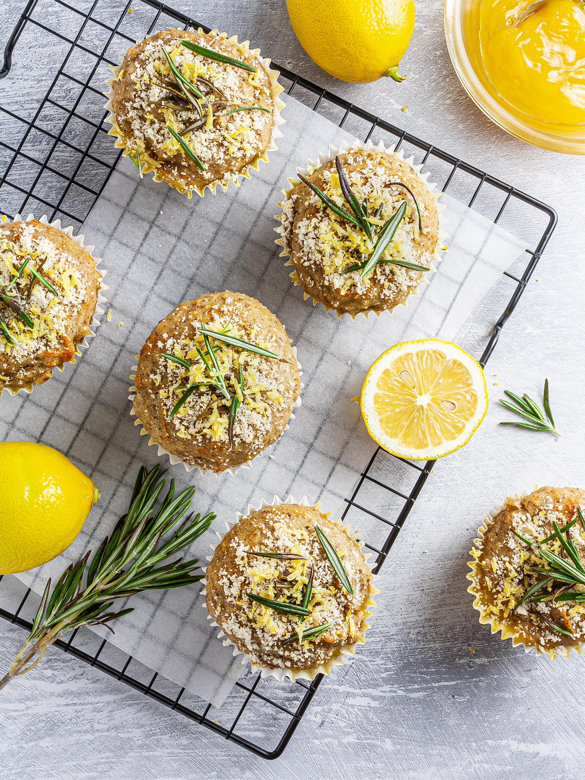 {Vegan, Sugar-Free} Lemon Rosemary Muffins Recipe Thumbnail