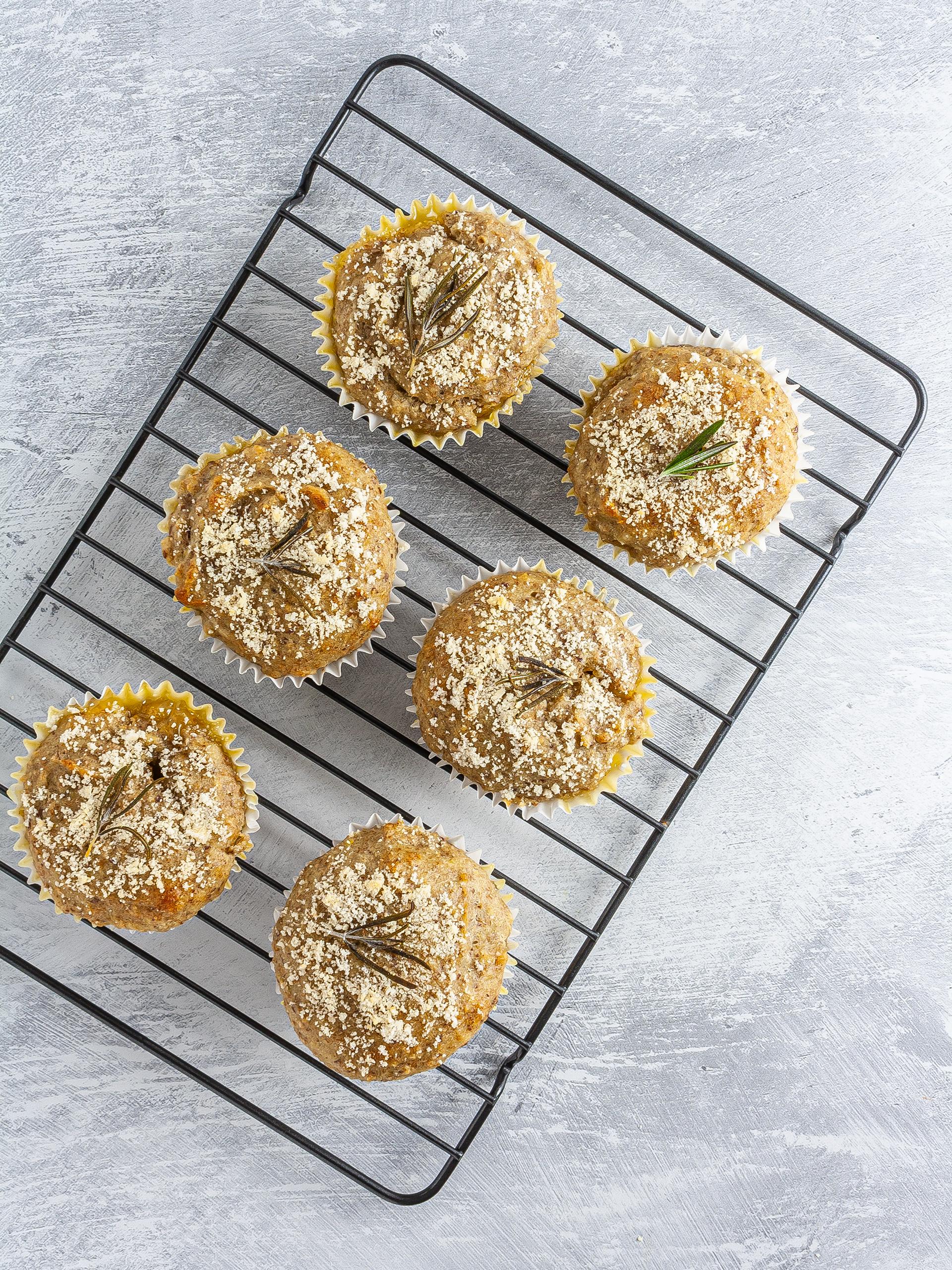 Baked lemon rosemary muffins