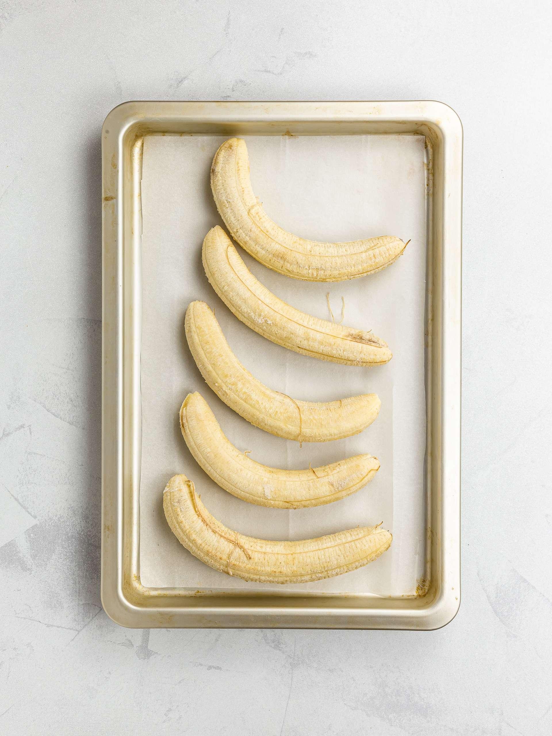 frozen bananas on a tray