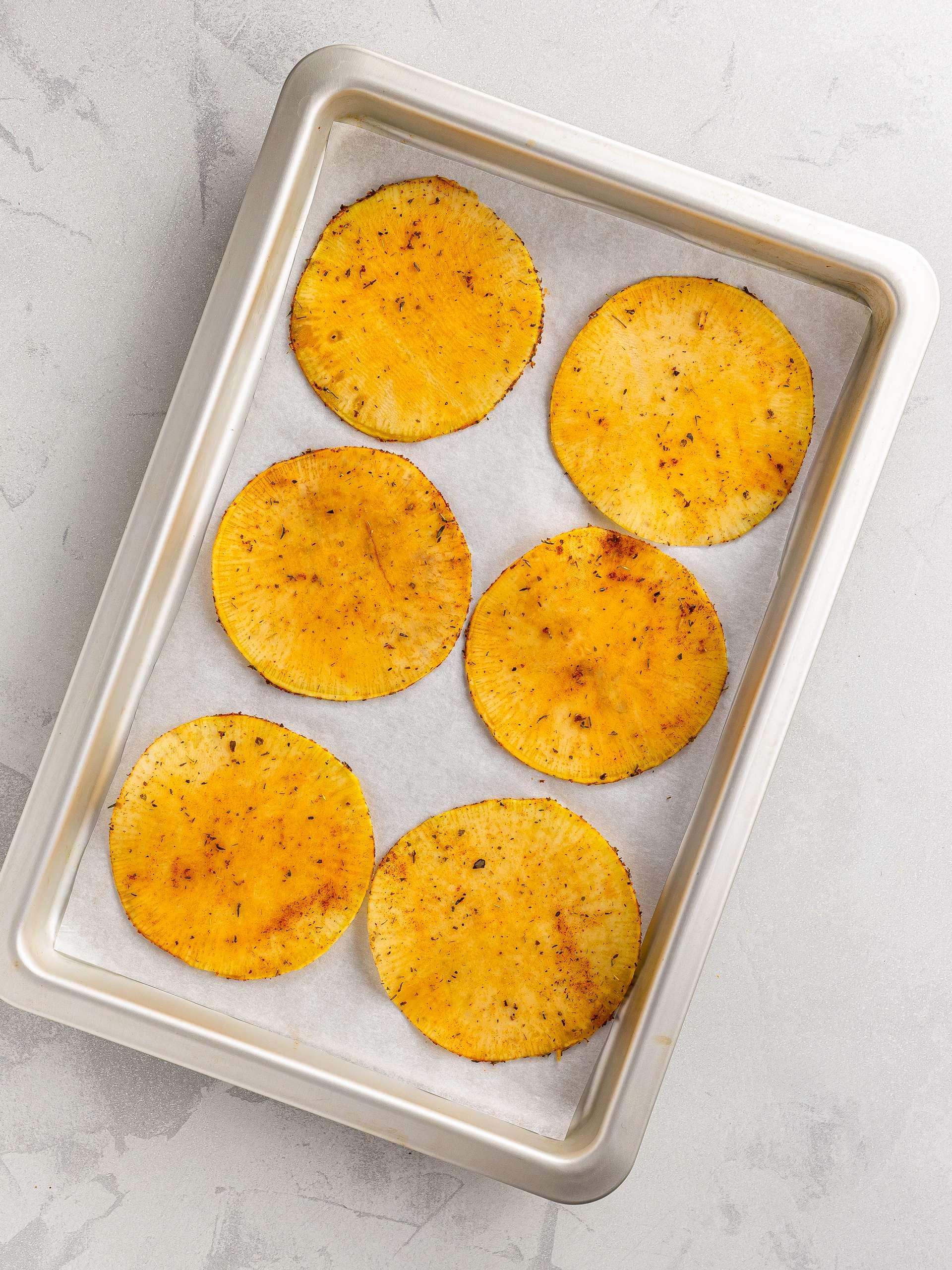 rutabaga chips on a baking tray