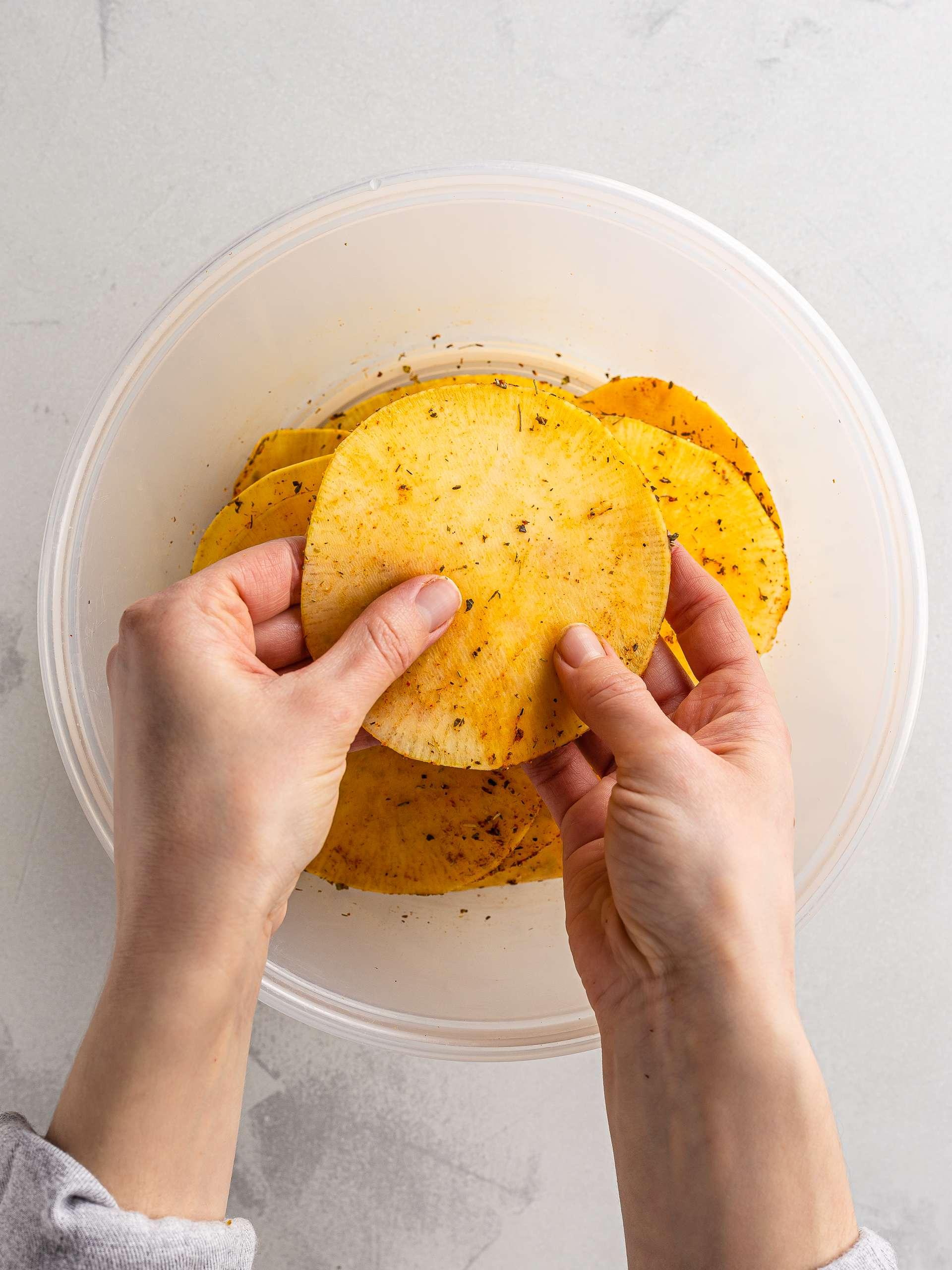 cajun spiced rutabaga chips