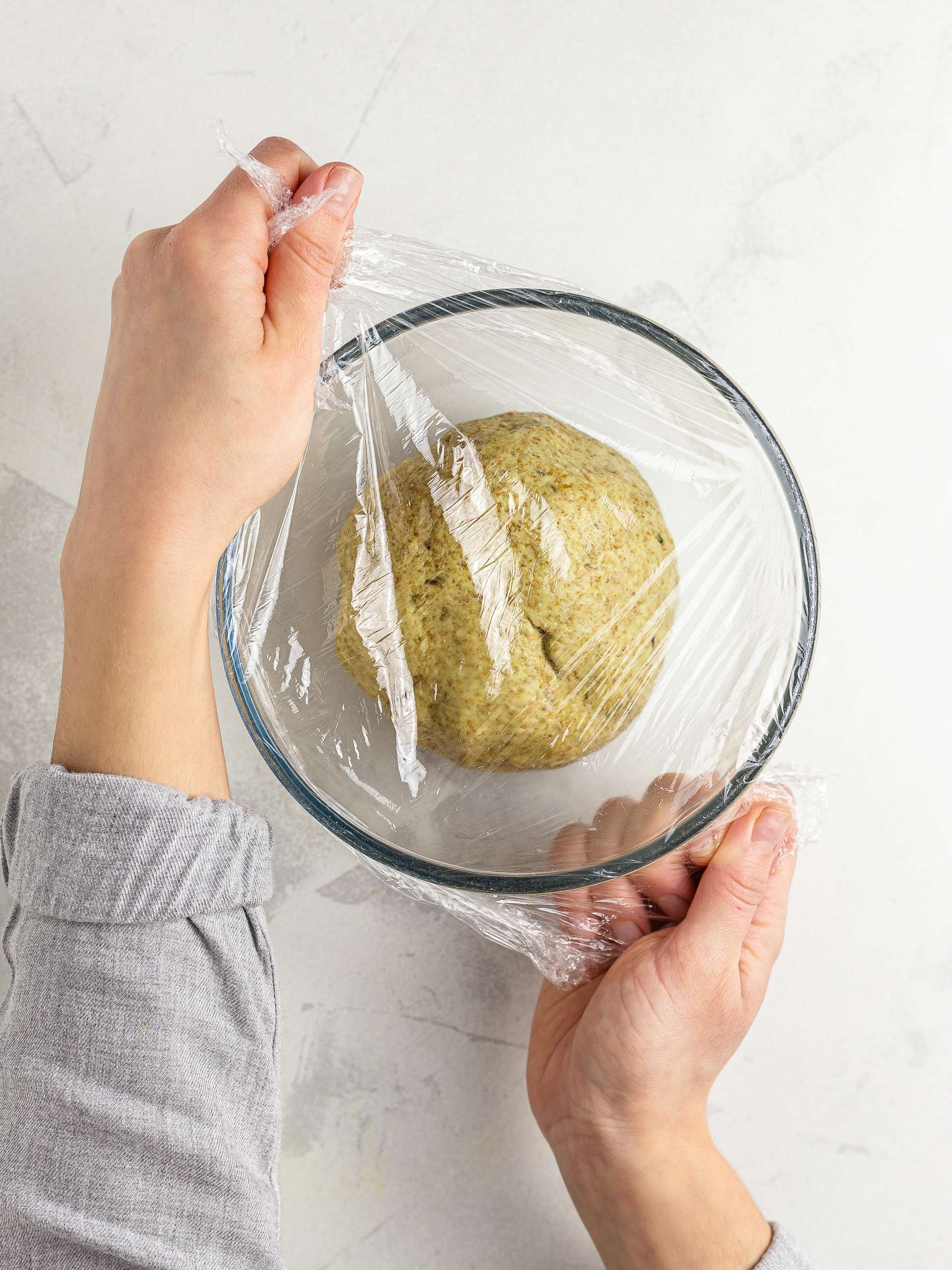 wrapping chapati dough in cling film