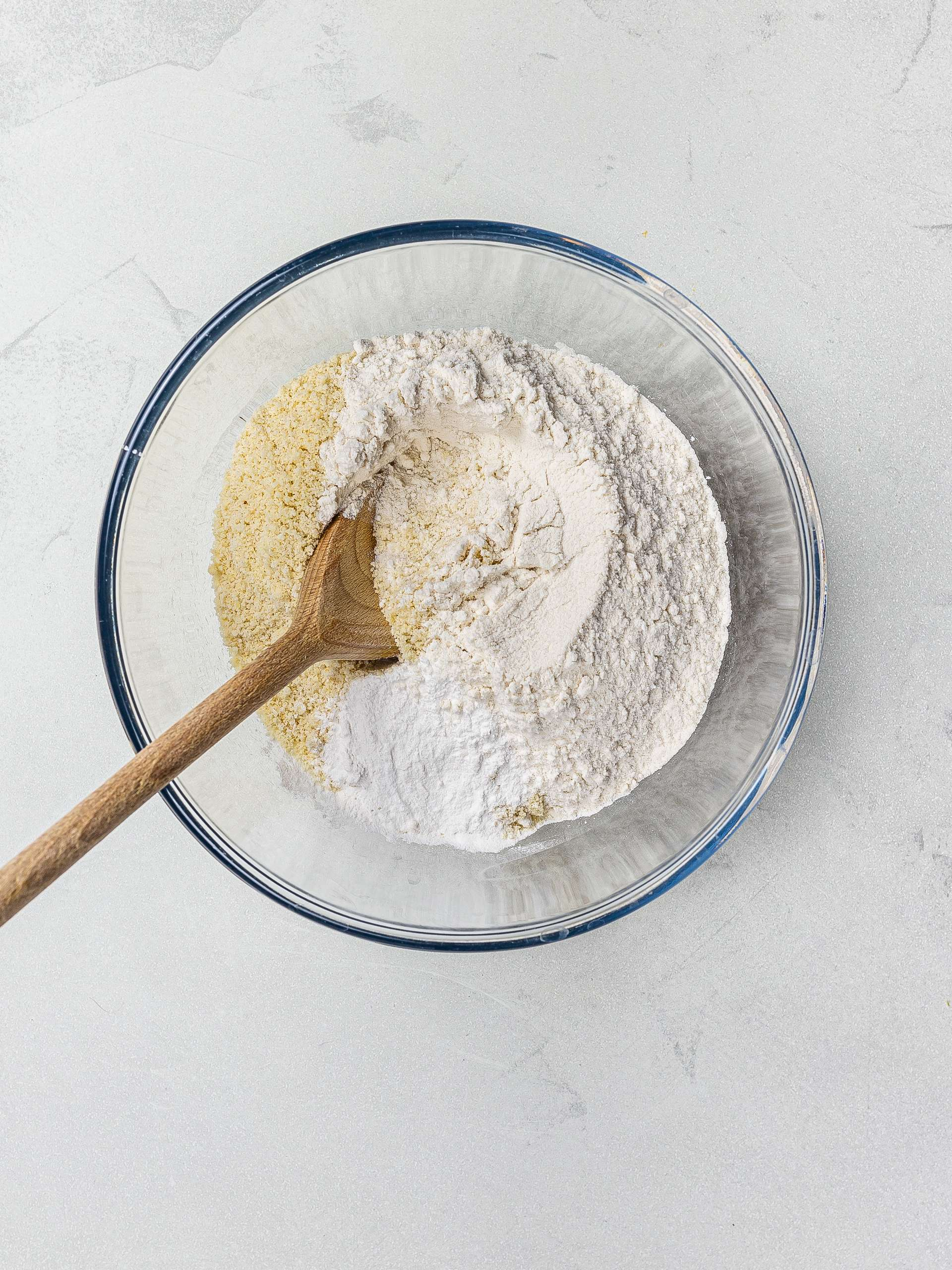 rice flour and almond flour in a bowl