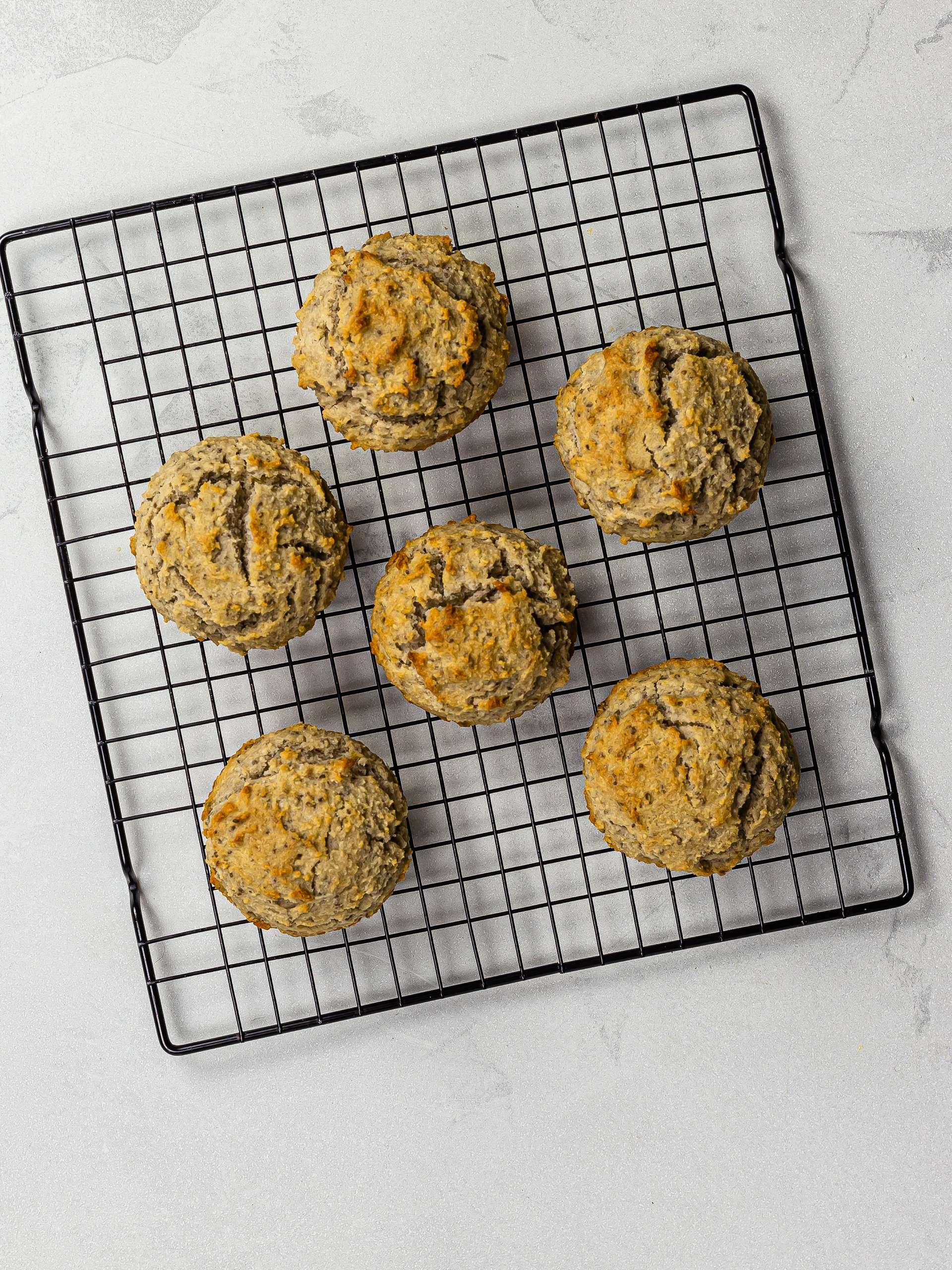 baked lemon chia muffins on a rack