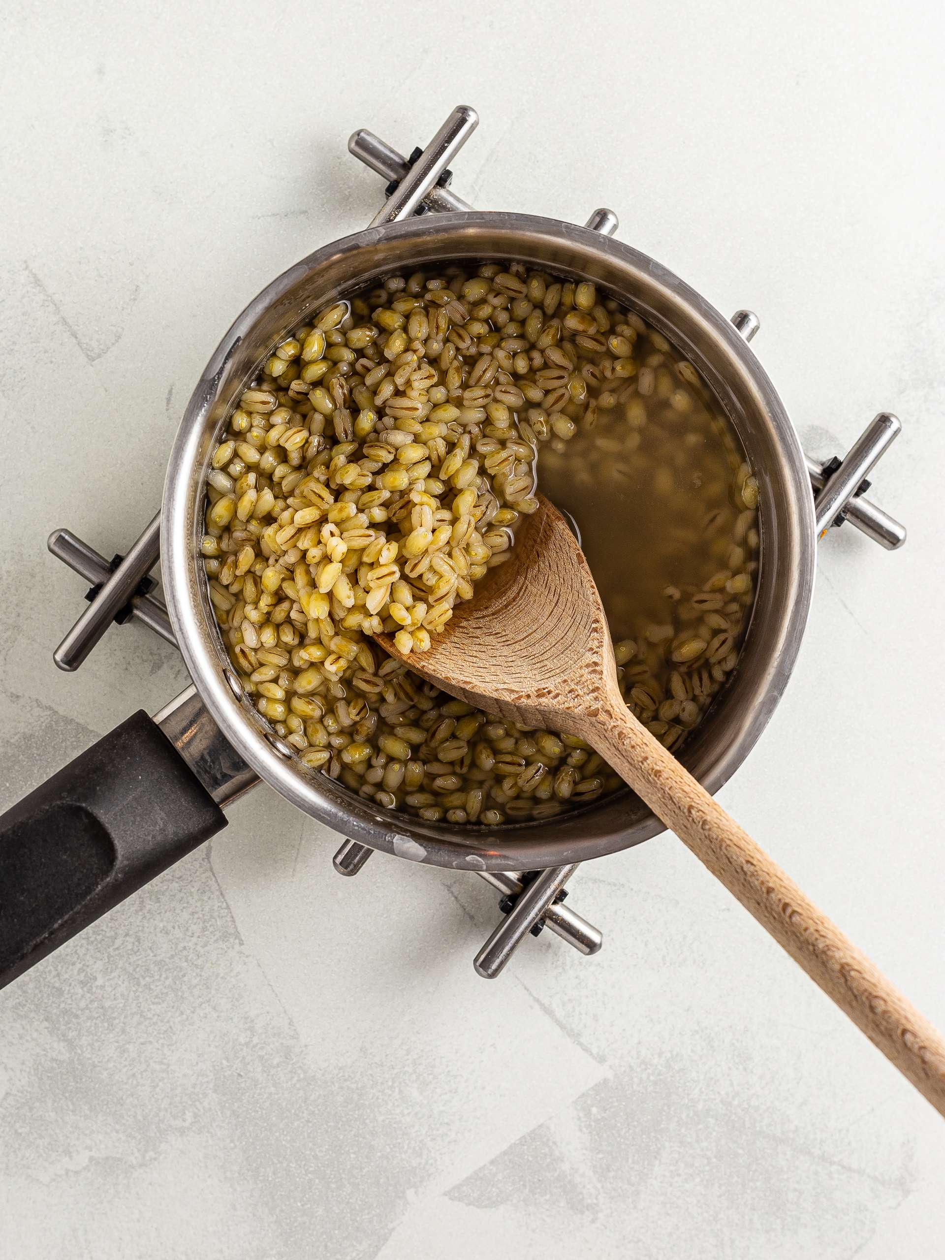 Cooked barley in a pot