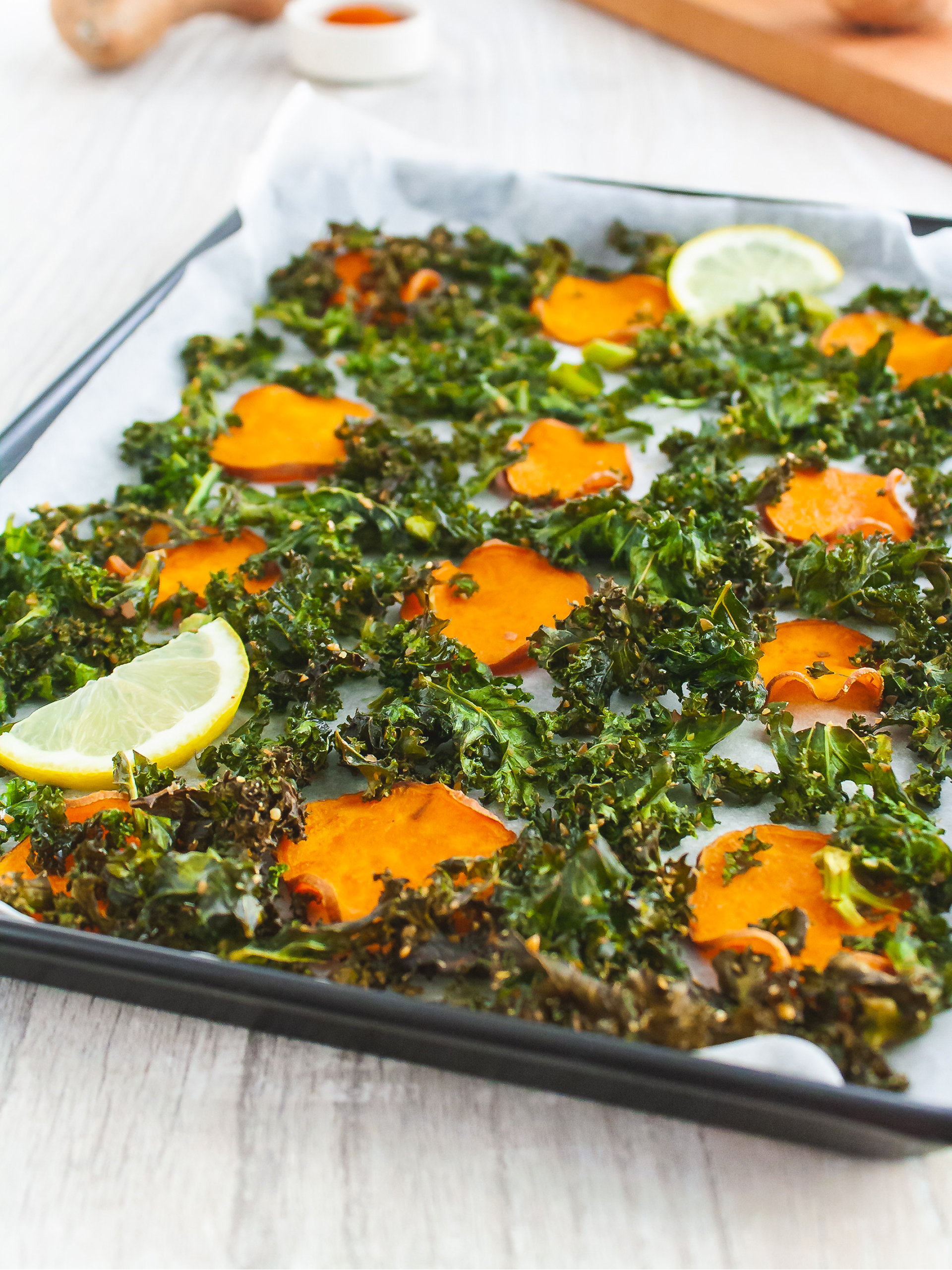 Crispy Kale and Sweet Potato Chips Recipe Thumbnail