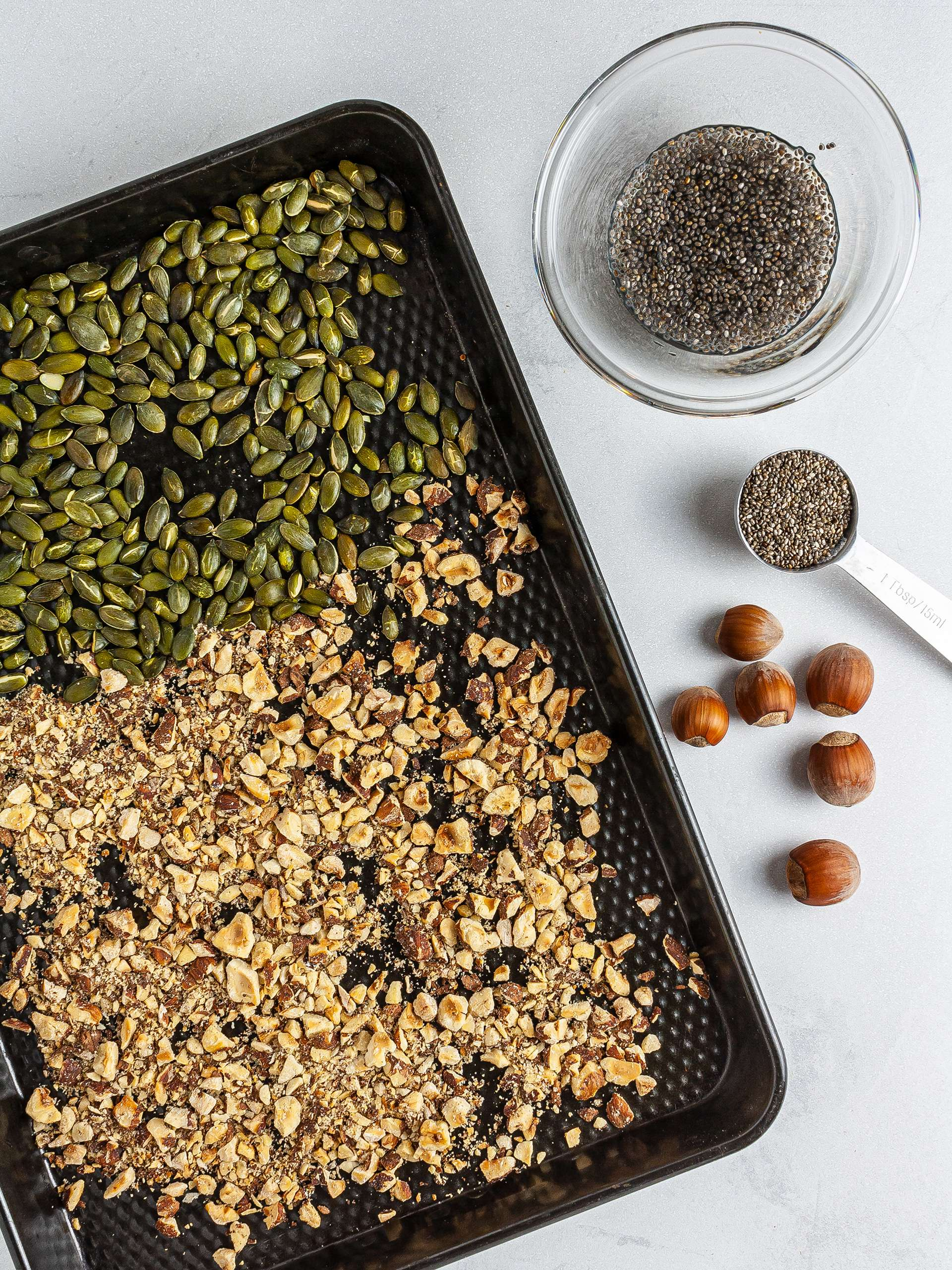 Toasted hazelnuts and pumpkin seeds, and chia egg