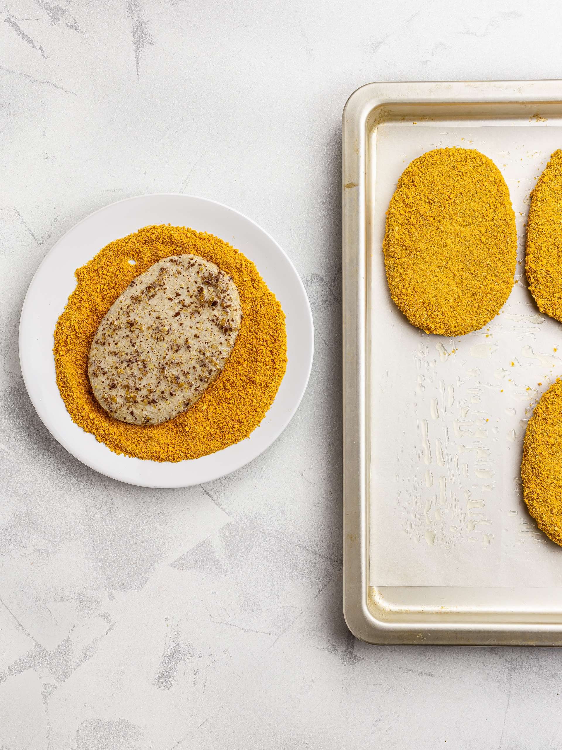 vegan chicken coated with breadcrumbs
