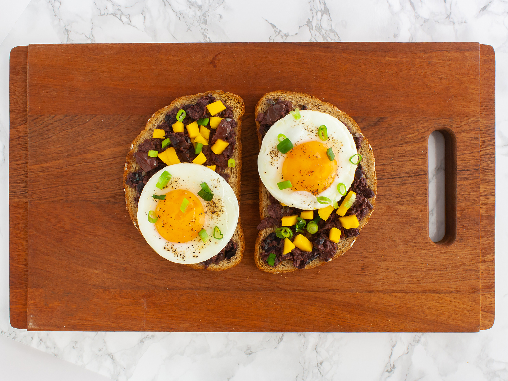 Step 3.2 of Olive Tapenade Bruschetta With Mango and Eggs
