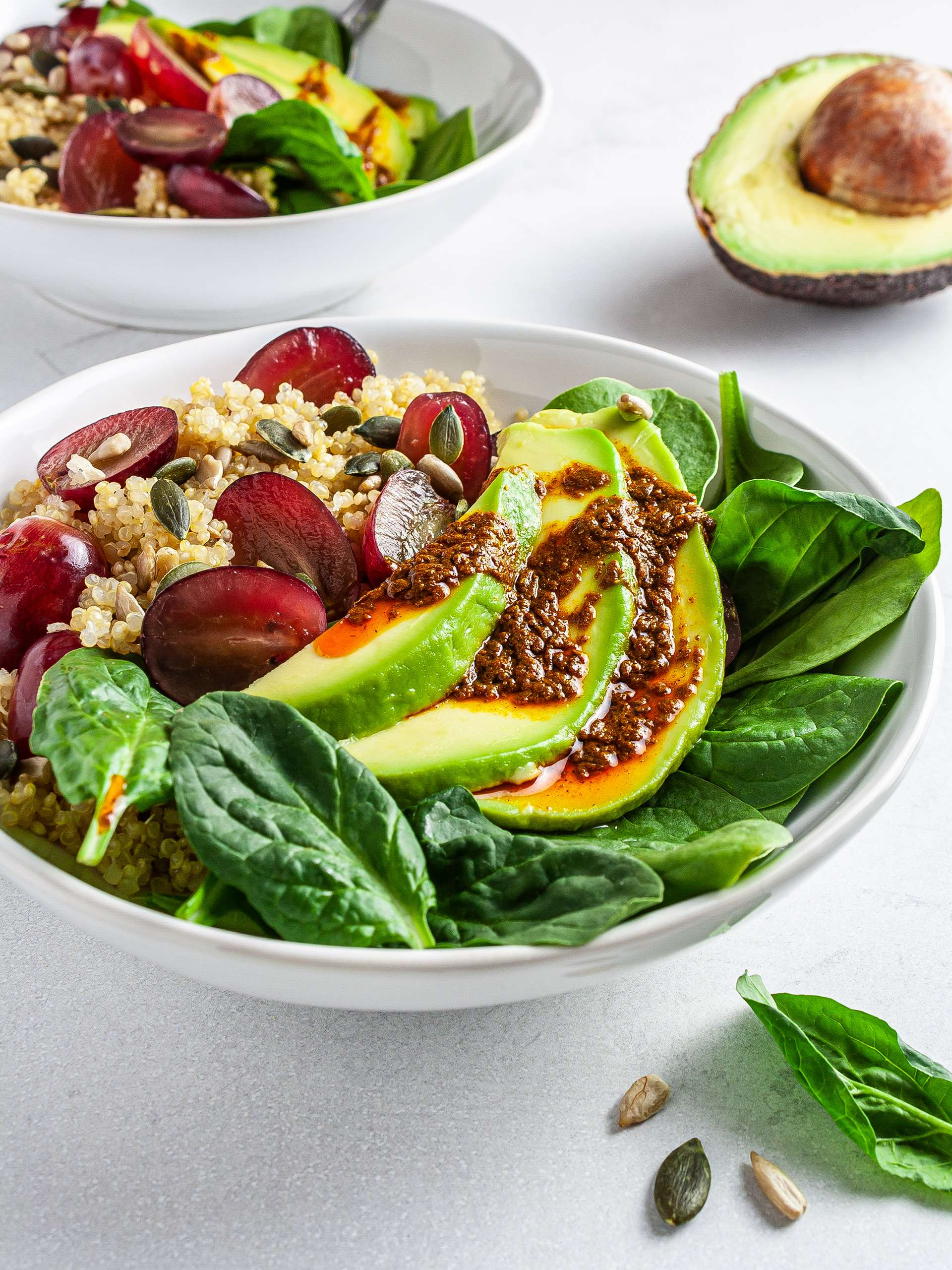 Quinoa Avocado Spinach Salad with Grapes Thumbnail