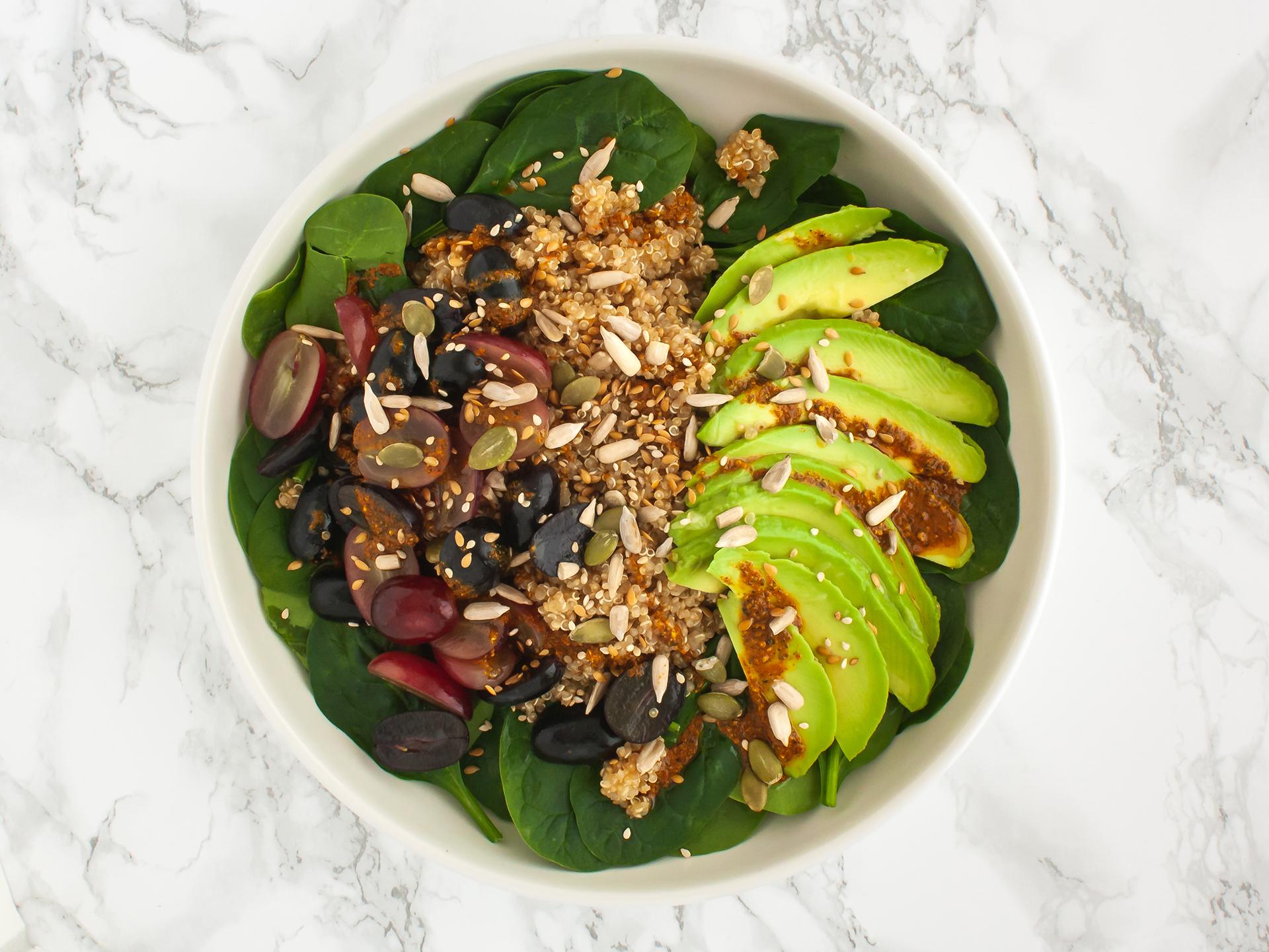 Step 3.1 of Quinoa Avocado Spinach Salad with Grapes