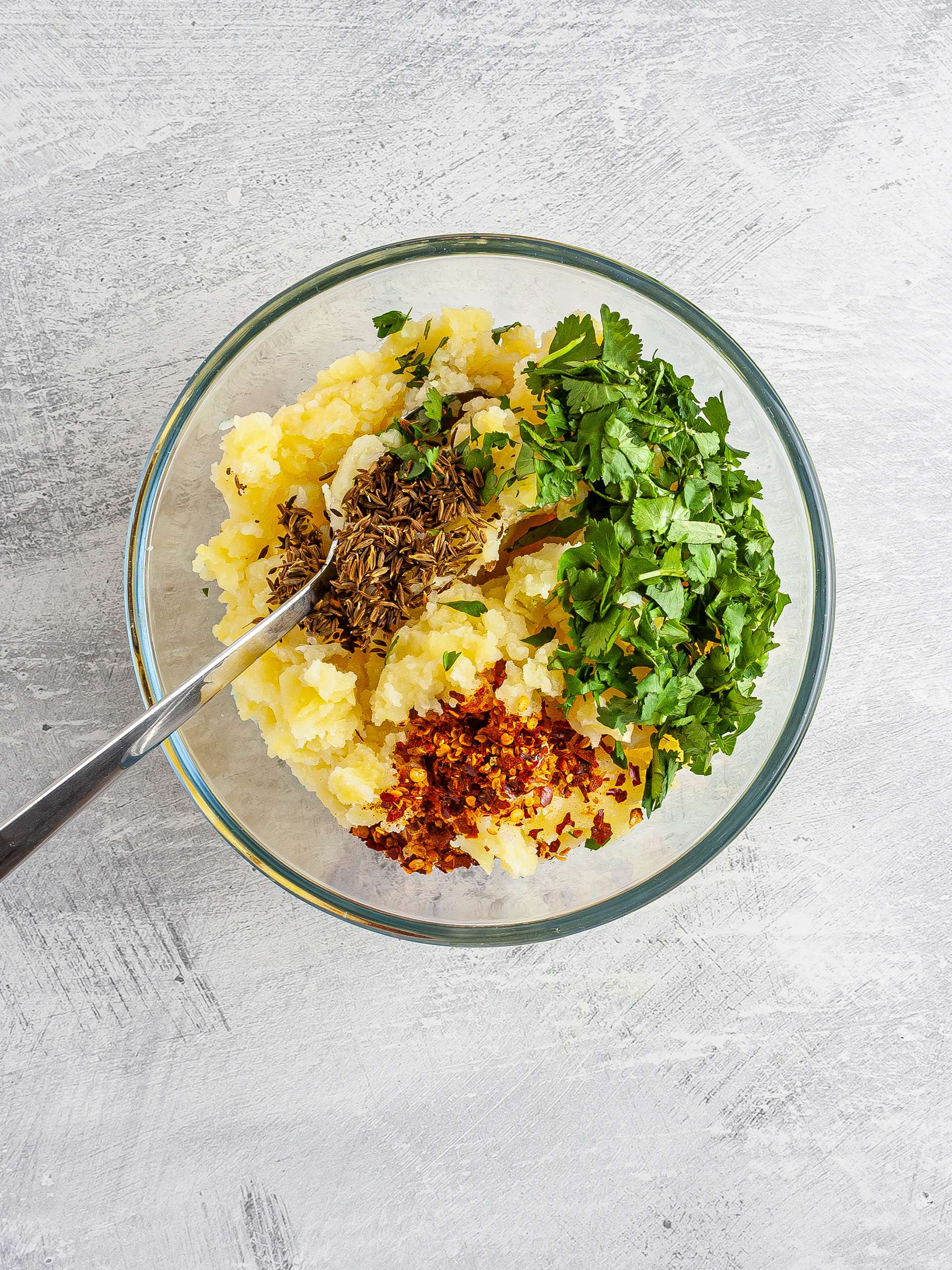 Mashed potatoes with coriander chillies and cumin