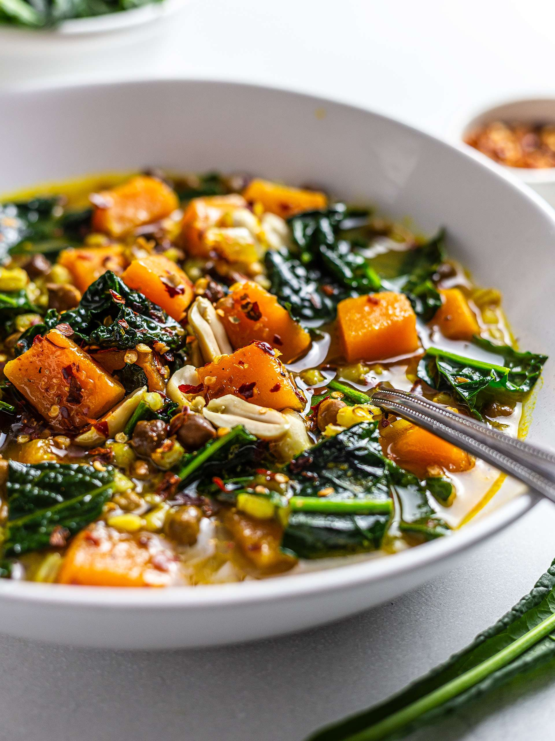 Pumpkin Kale Soup with Brown Chickpeas