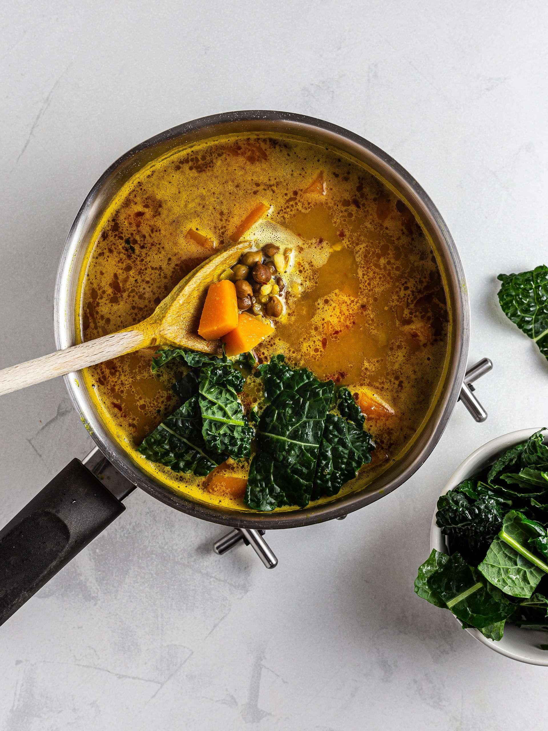 Black kale in the pumpkin soup