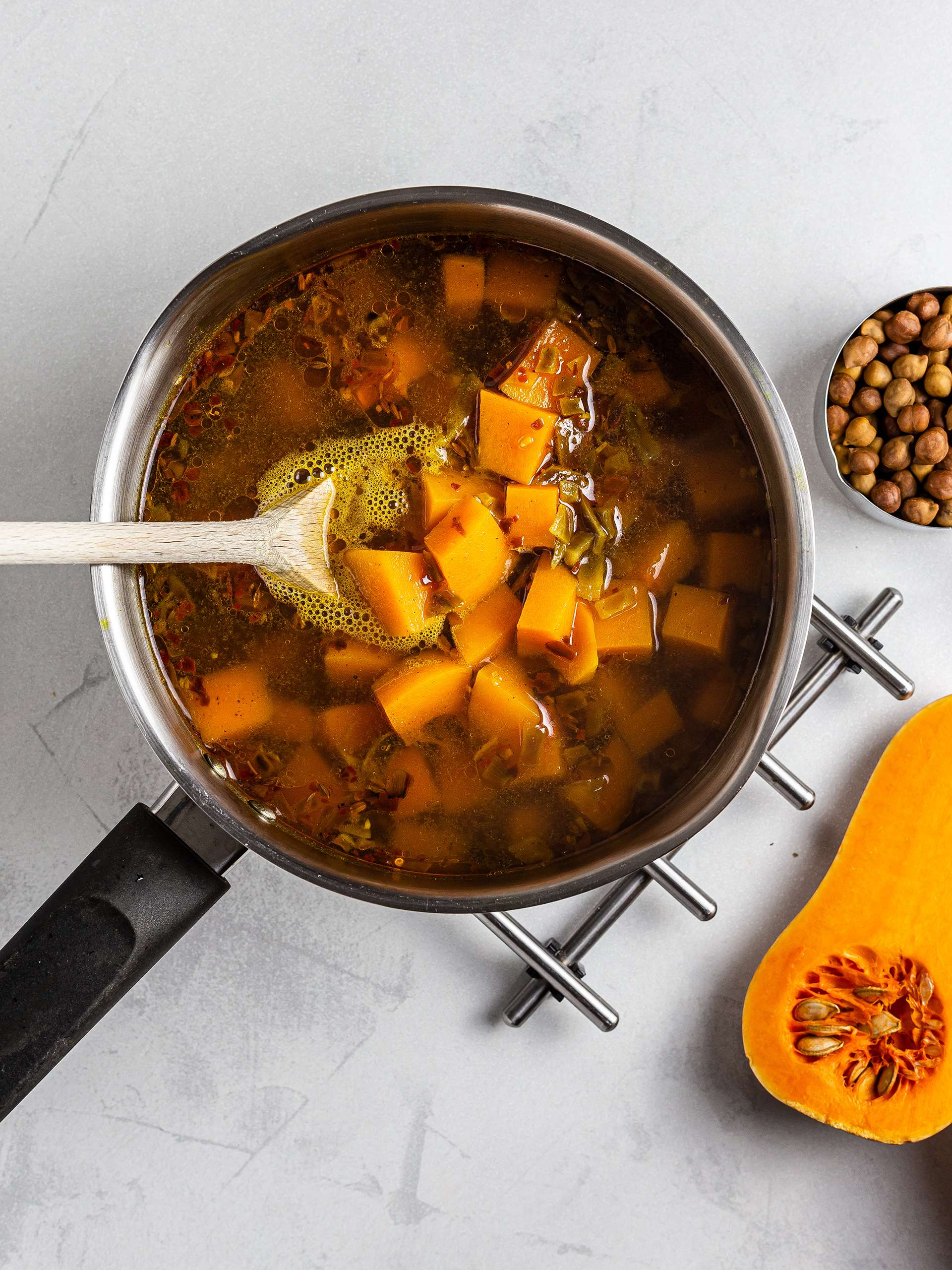 Pumpkin and chickpeas in a pot