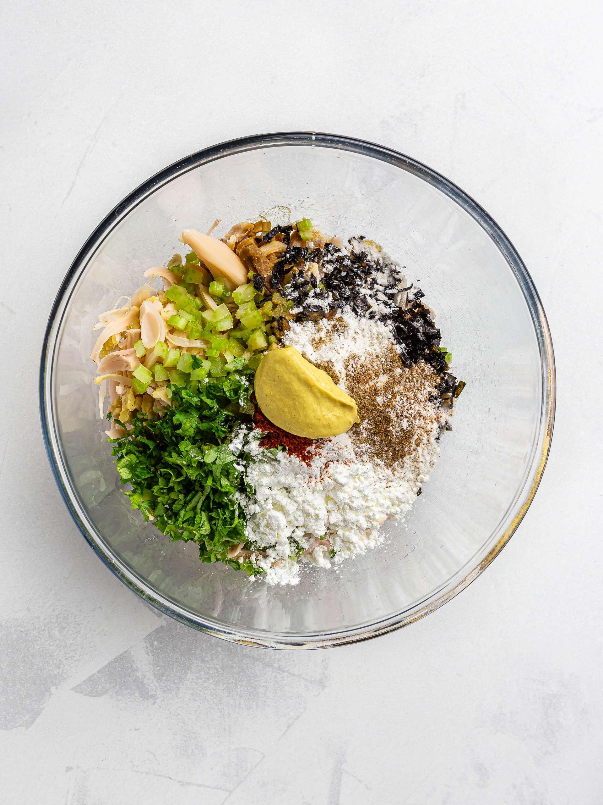 jackfruit crab cake ingredients in a bowl