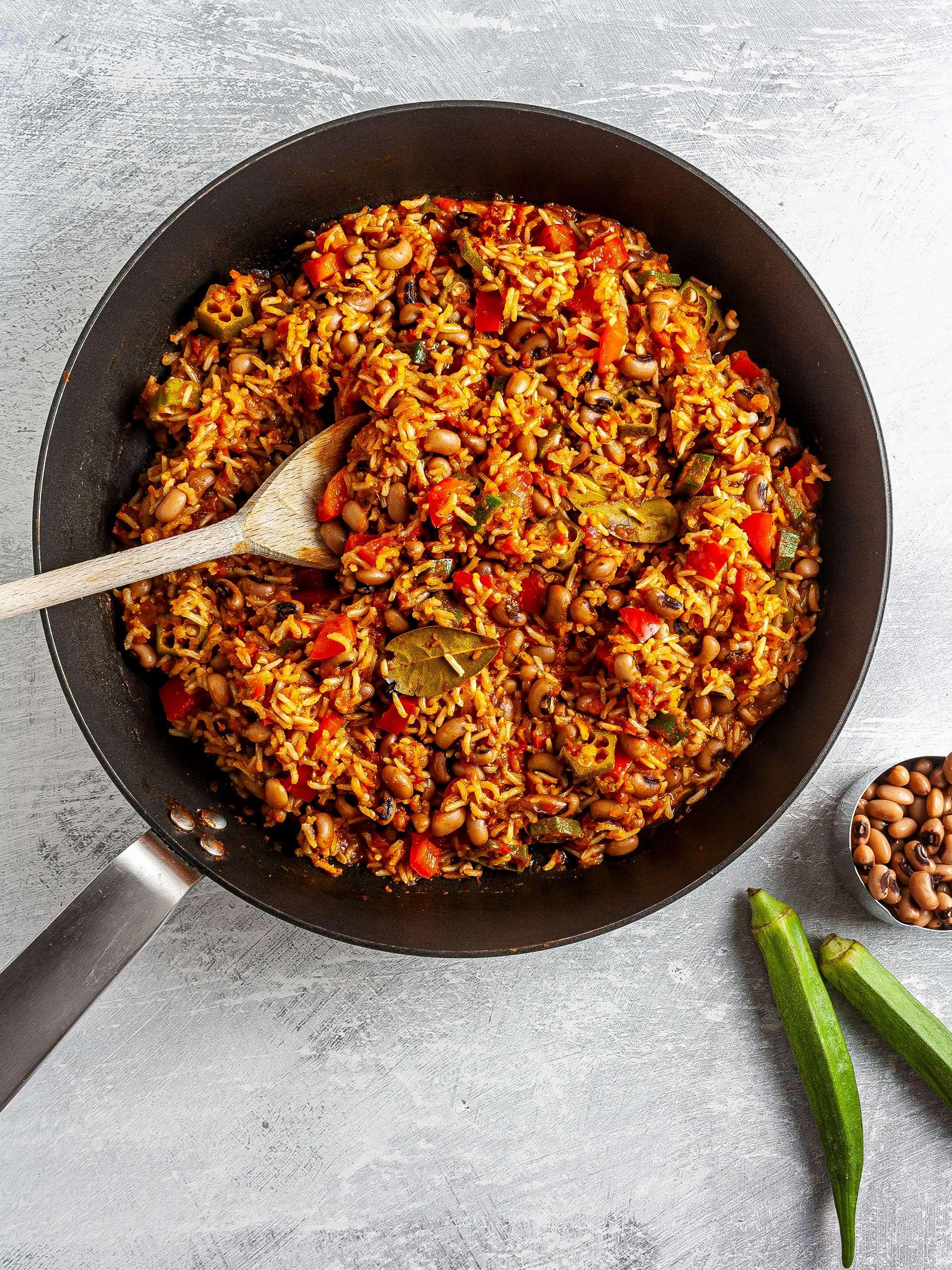 Jollof rice with black-eyed peas and okra